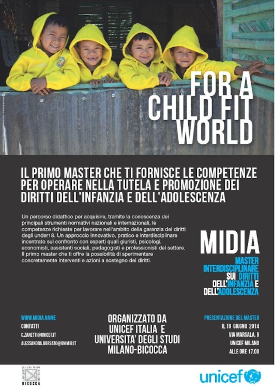 Milano: lezione inaugurale del primo Master in Italia sui diritti dell'infanzia e dell'adolescenza.
