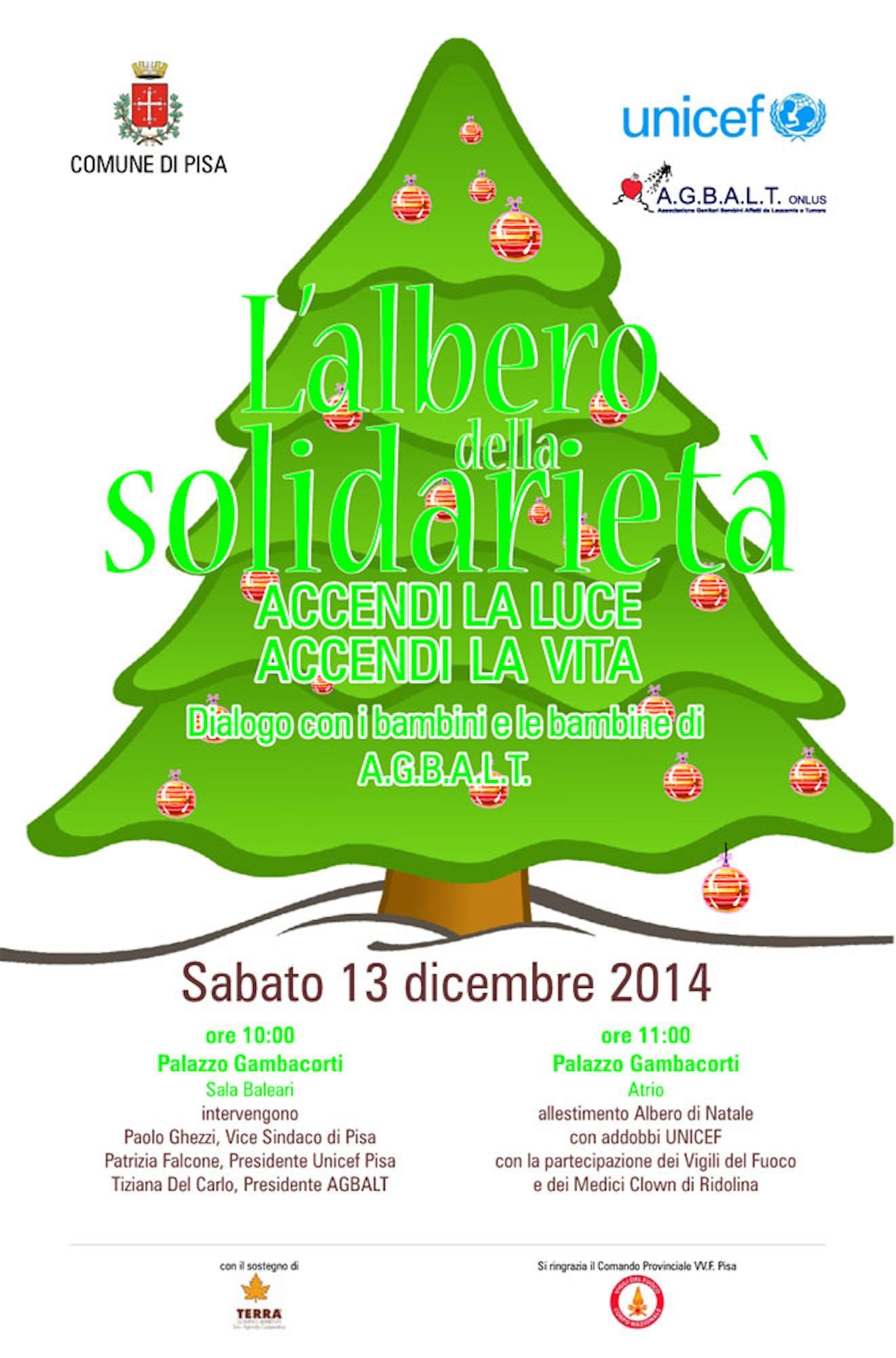 A Pisa torna l'Albero della solidarietà con UNICEF