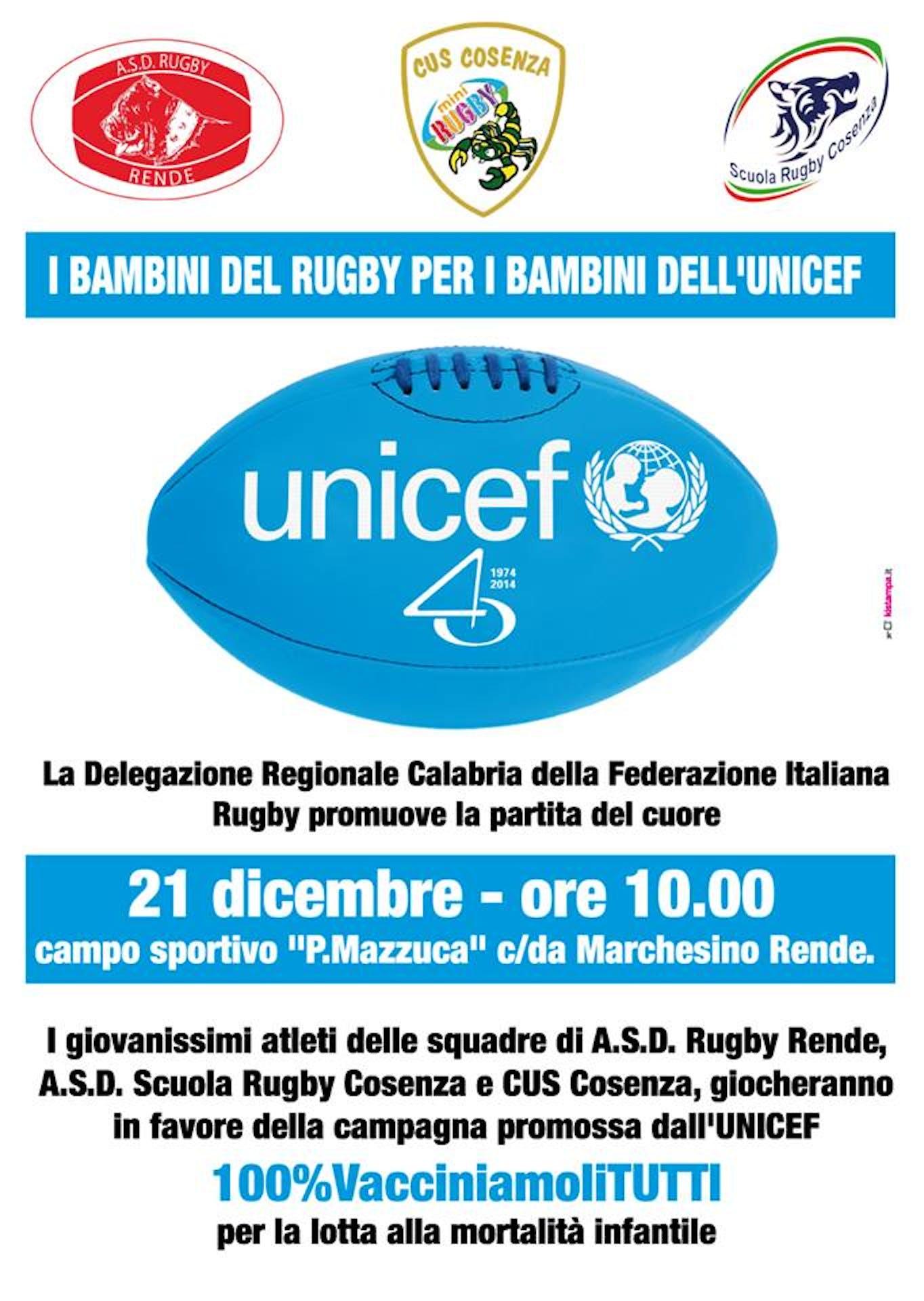 Cosenza: i bambini del Rugby per i bambini dell'UNICEF