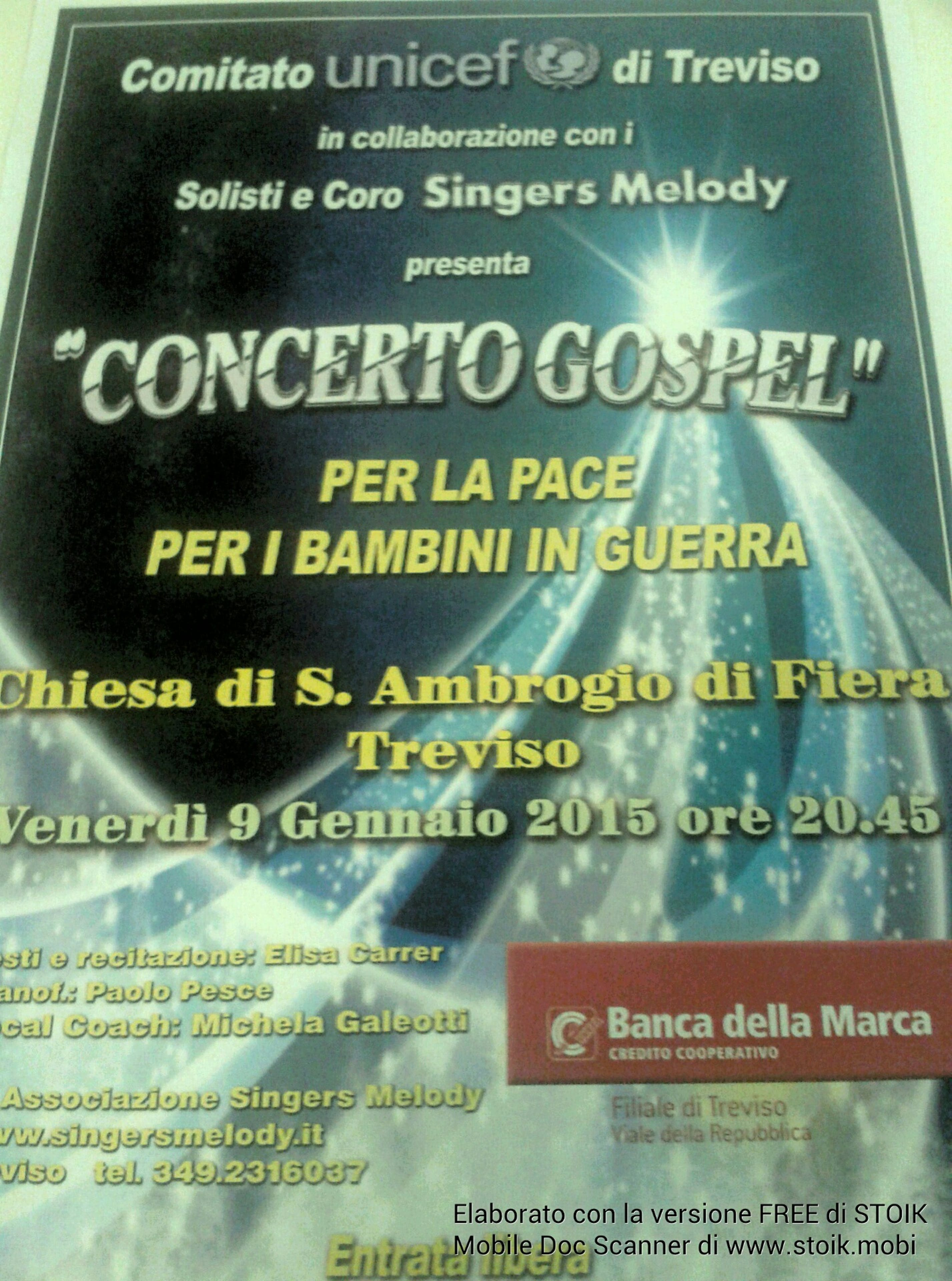 Questa sera a Treviso il concerto Gospel per aiutare i bambini della Siria