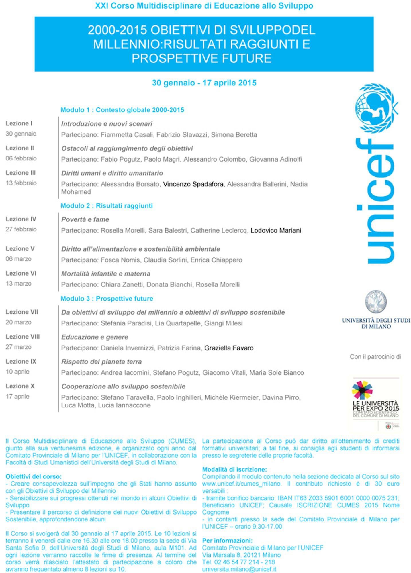 Al via il Corso Multidisciplinare UNICEF 2015 all'Università di Milano