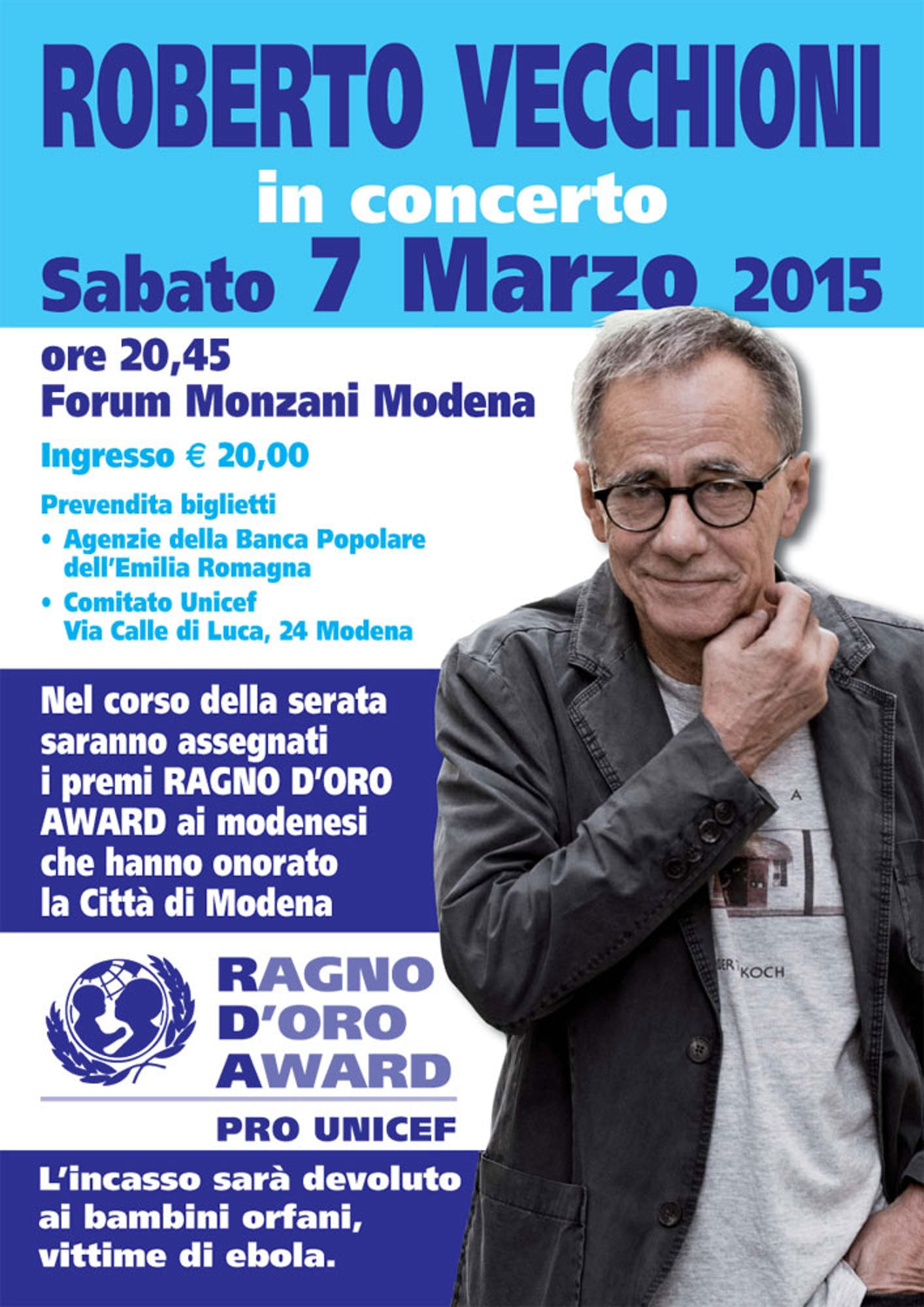 Roberto Vecchioni in concerto per UNICEF
