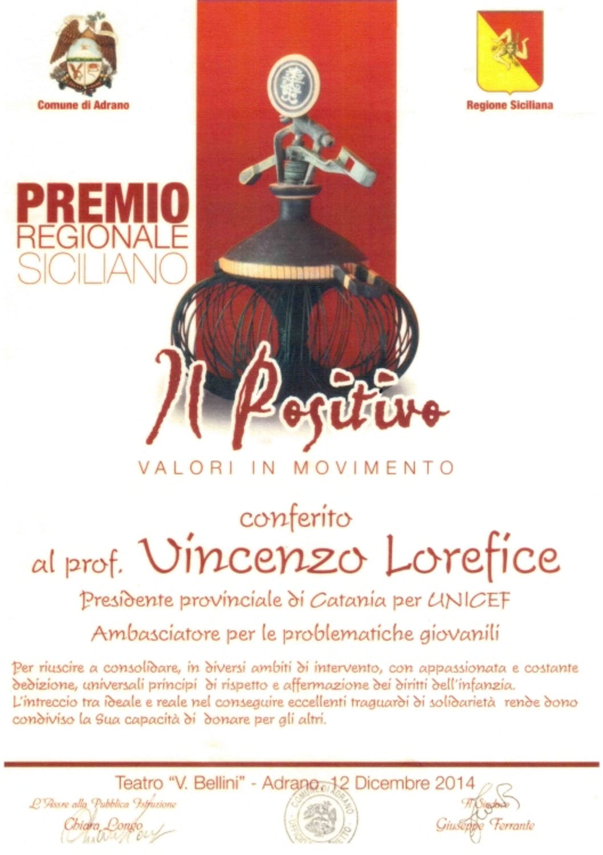 Vincenzo Lorefice premiato dall'amministrazione comunale di Adrano (CT)