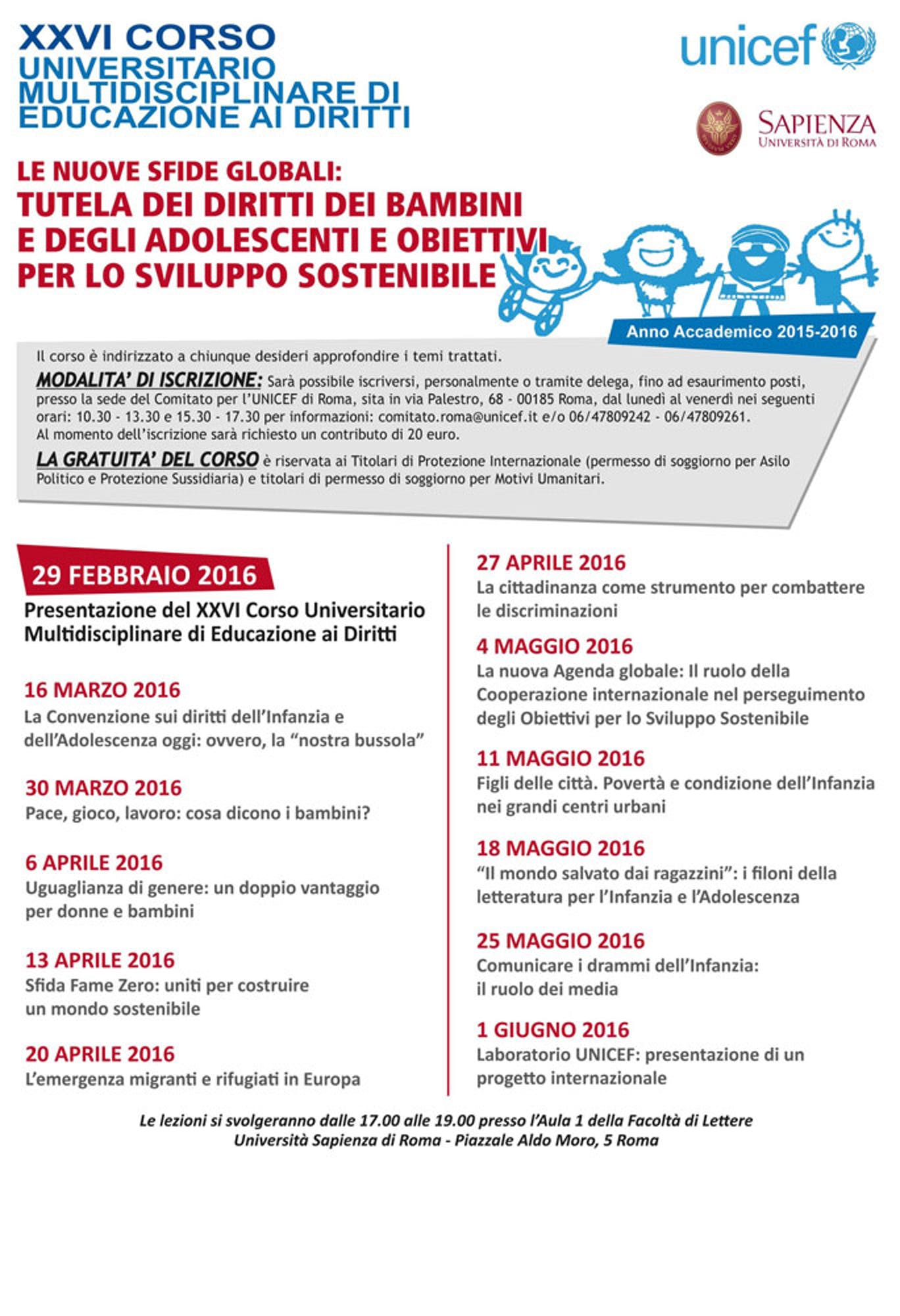 Al via il corso UNICEF 2016 all'Università di Roma