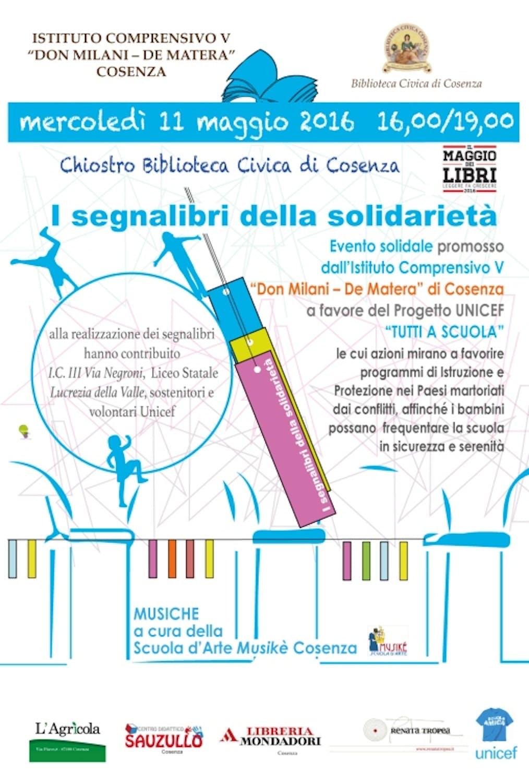 11 maggio 2016 - I Segnalibri della Solidarietà a favore del progetto UNICEF Tutti a Scuola