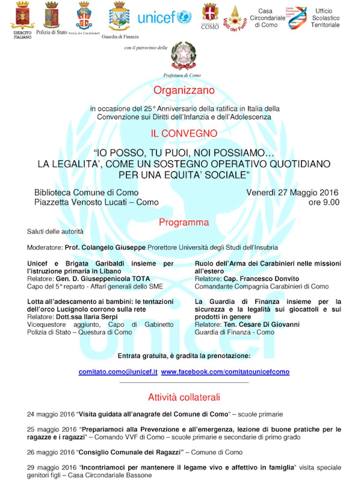 27 maggio 2016- Convegno per il 25° anniversario della ratifica in Italia della Convenzione sui diritti dell'Infanzia e dell'Adolescenza