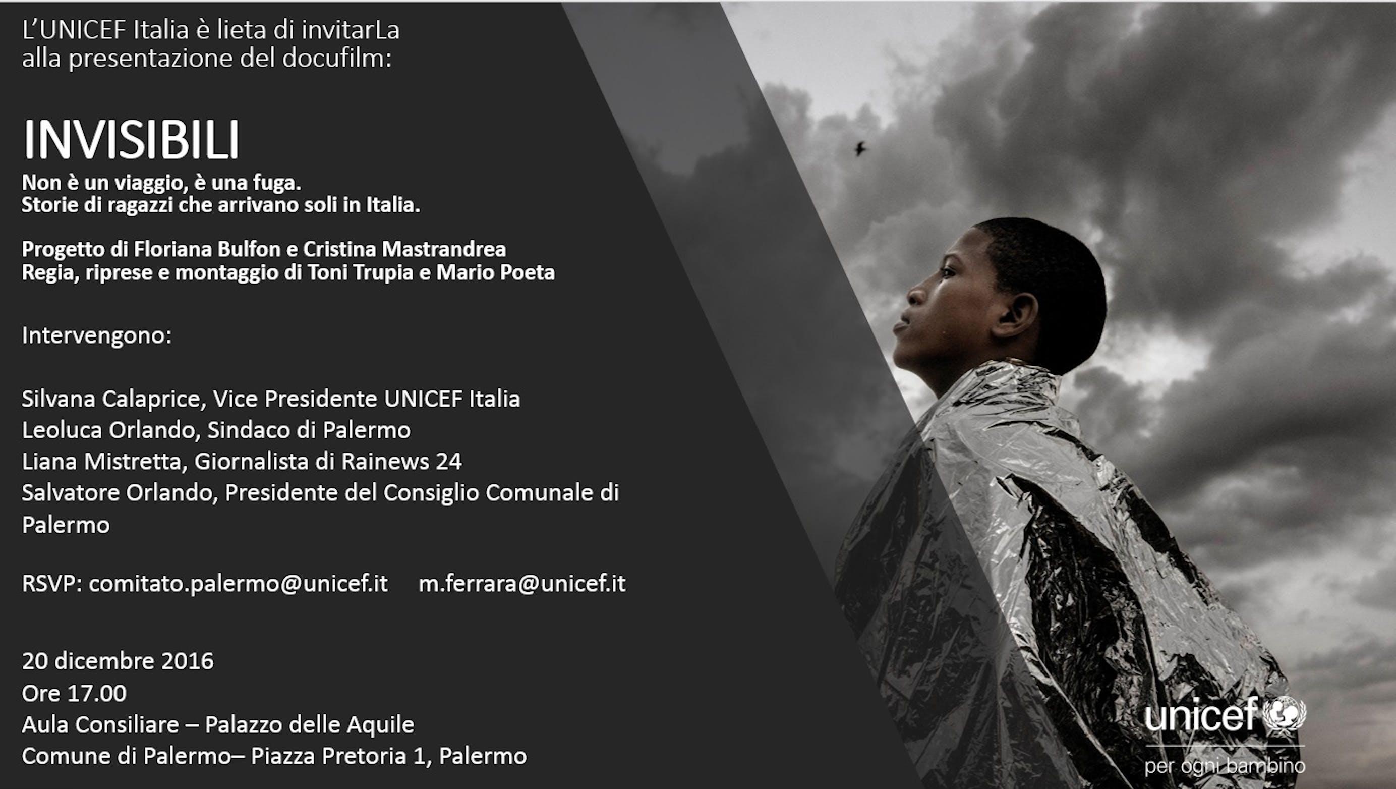 INVISIBILI - Anteprima nazionale in contemporanea a Palermo e Roma