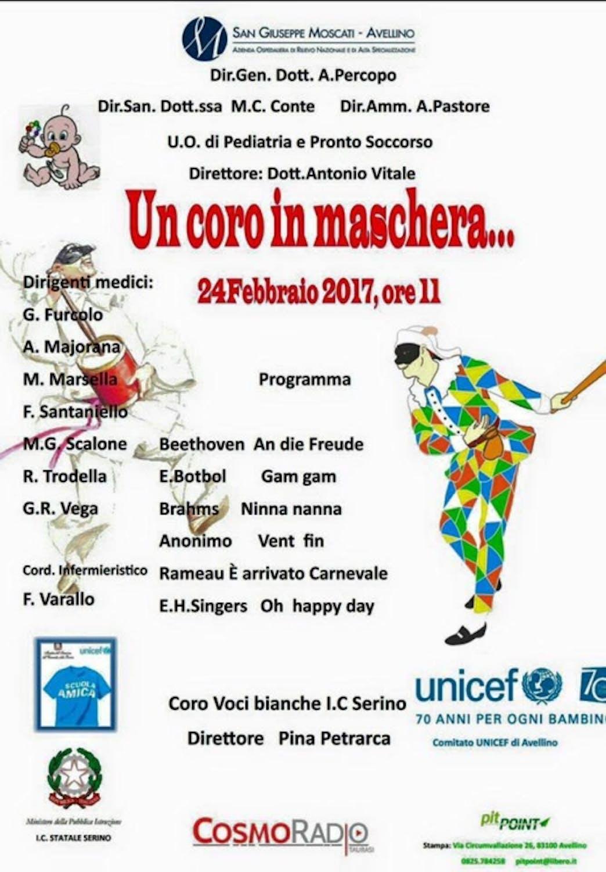 Un Coro in Maschera per i bambini del reparto pediatrico dell'Ospedale San Giuseppe Moscati di Avellino