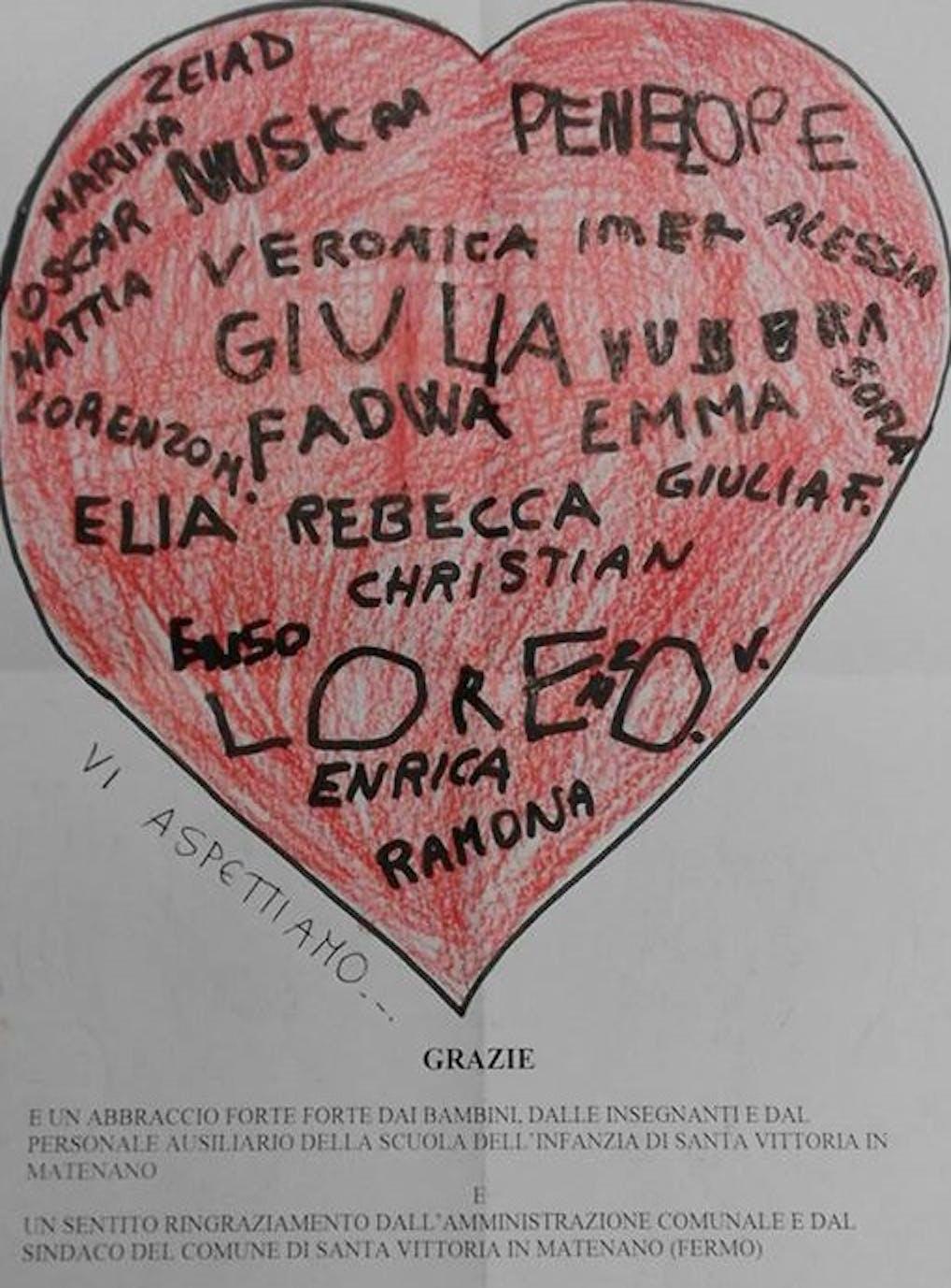 Il cuore disegnato dai bambini di Montefortino (FM)