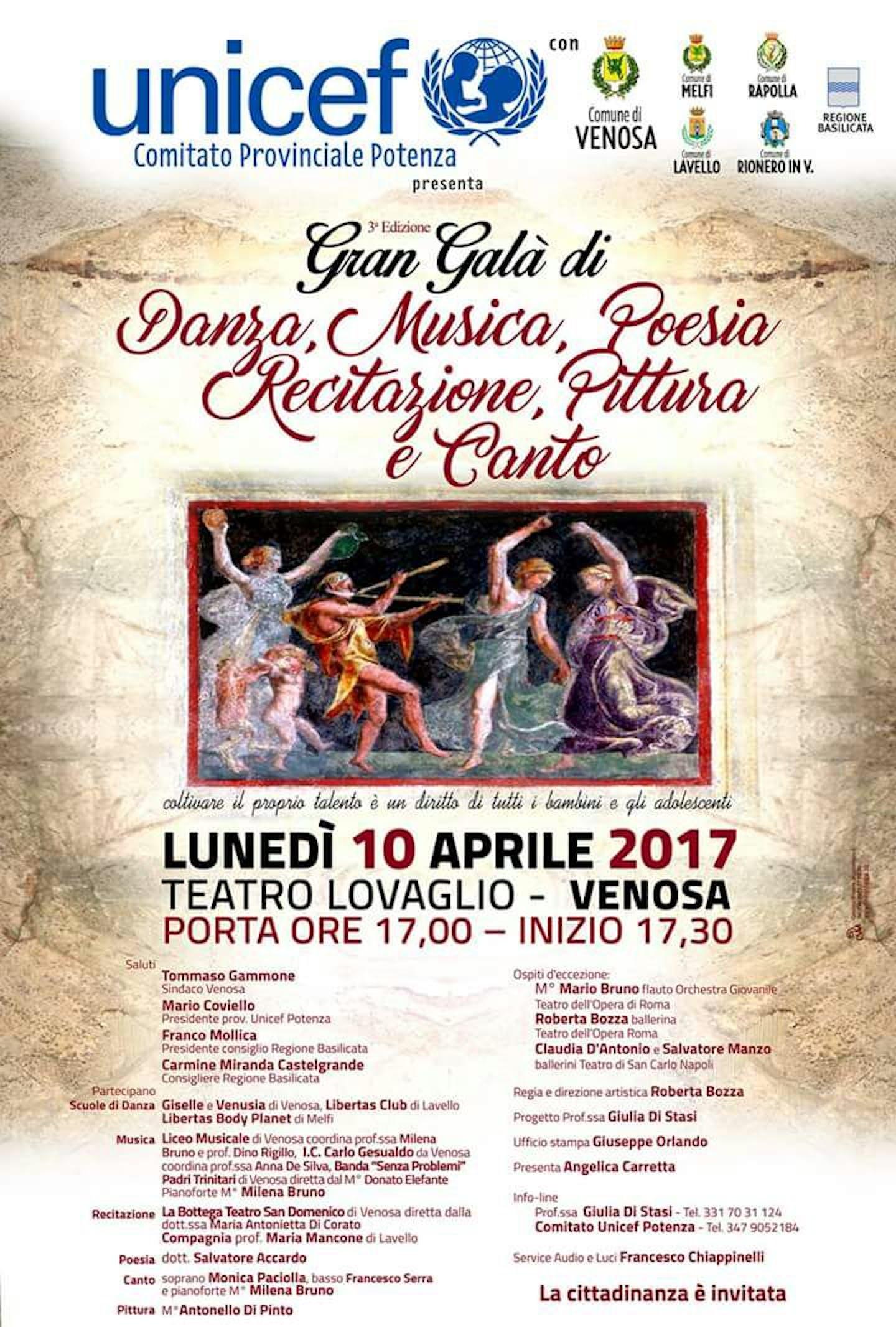 A Venosa il 3° Gran Galà di Danza, Musica, Poesia, Recitazione, Pittura e Canto per l'UNICEF