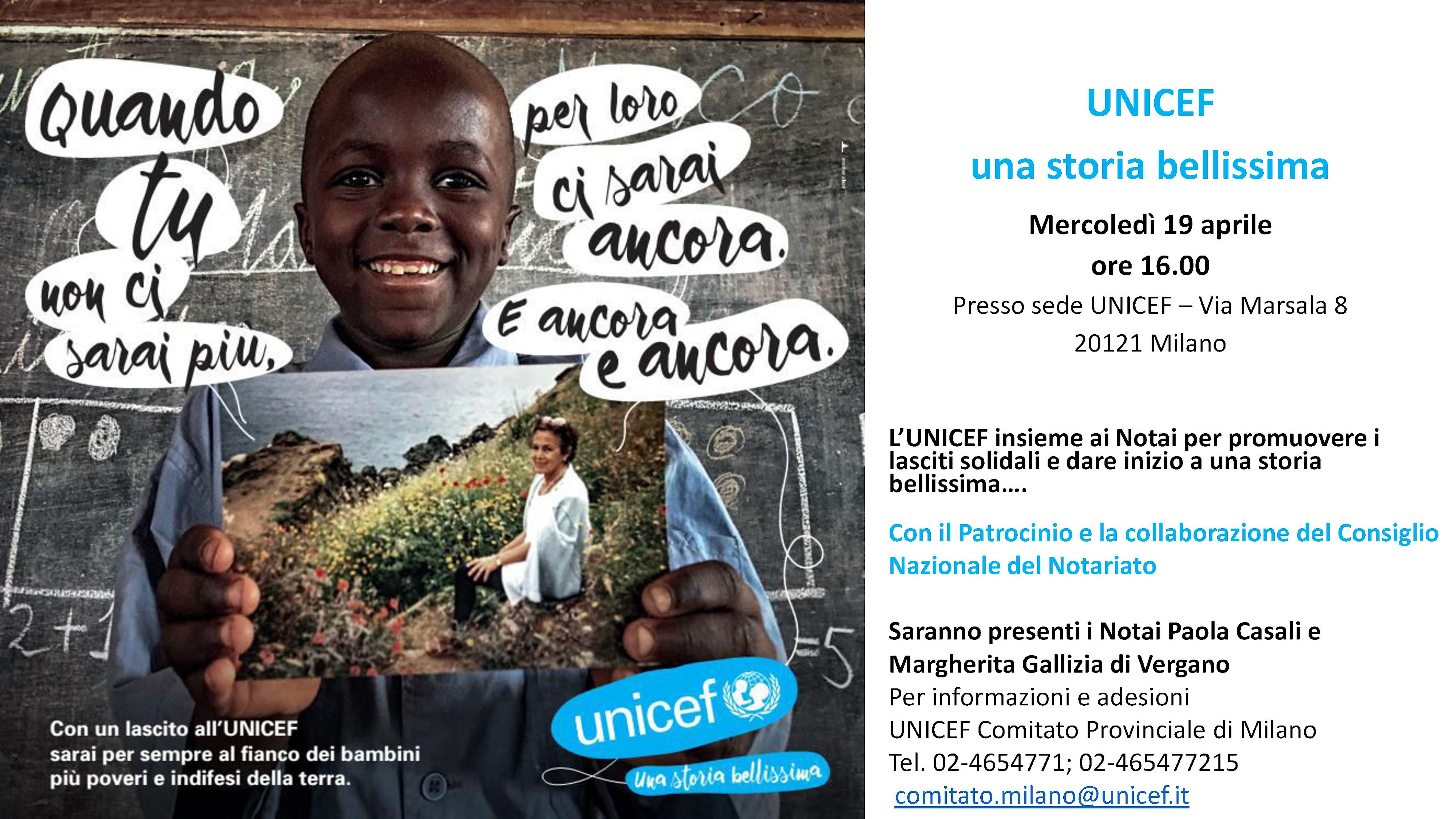 A Milano: l'UNICEF insieme ai Notai per promuovere i lasciti solidali e dare inizio a una storia bellissima