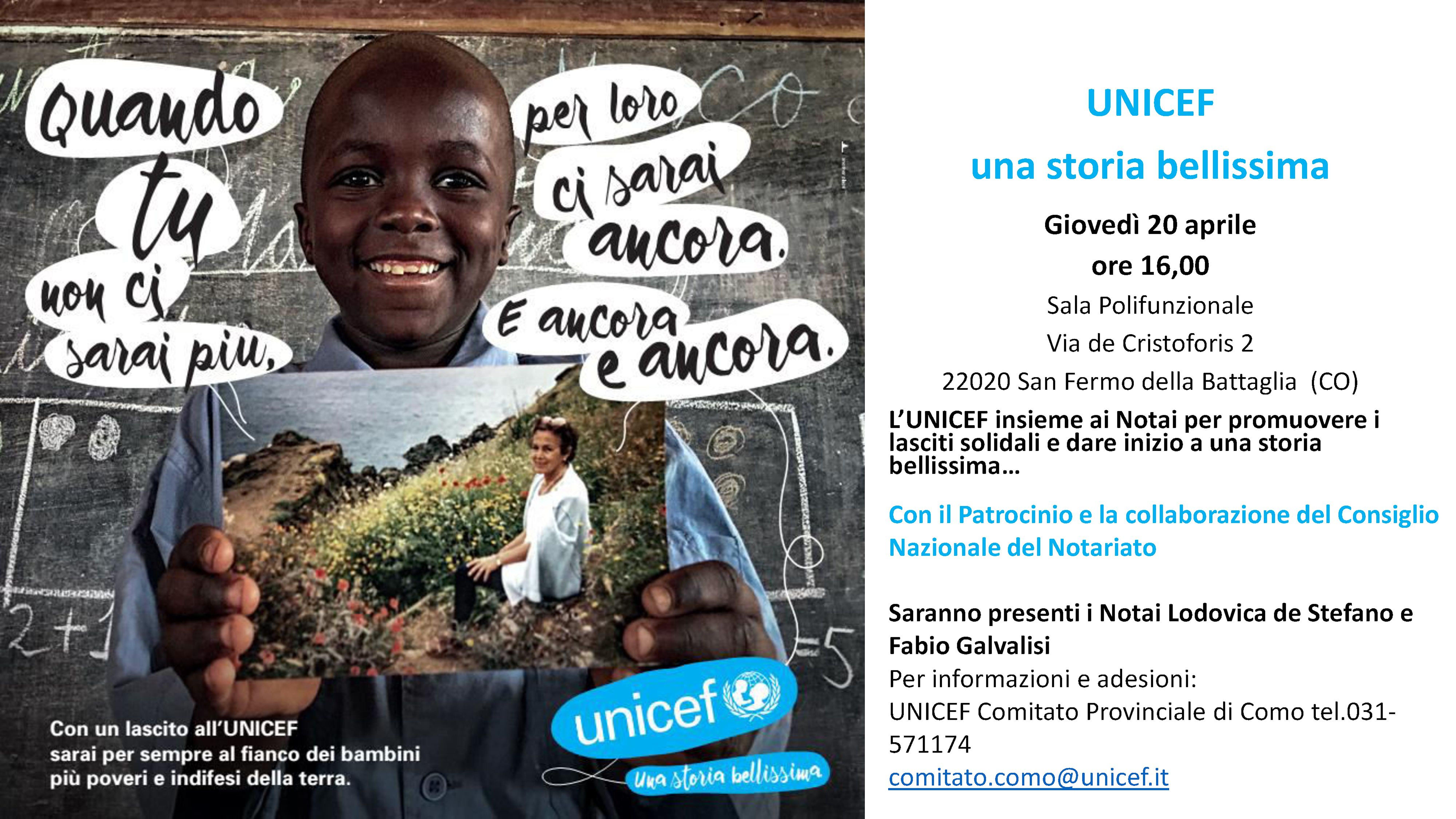 A Como: l'UNICEF insieme ai Notai per promuovere i lasciti solidali e dare inizio a una storia bellissima