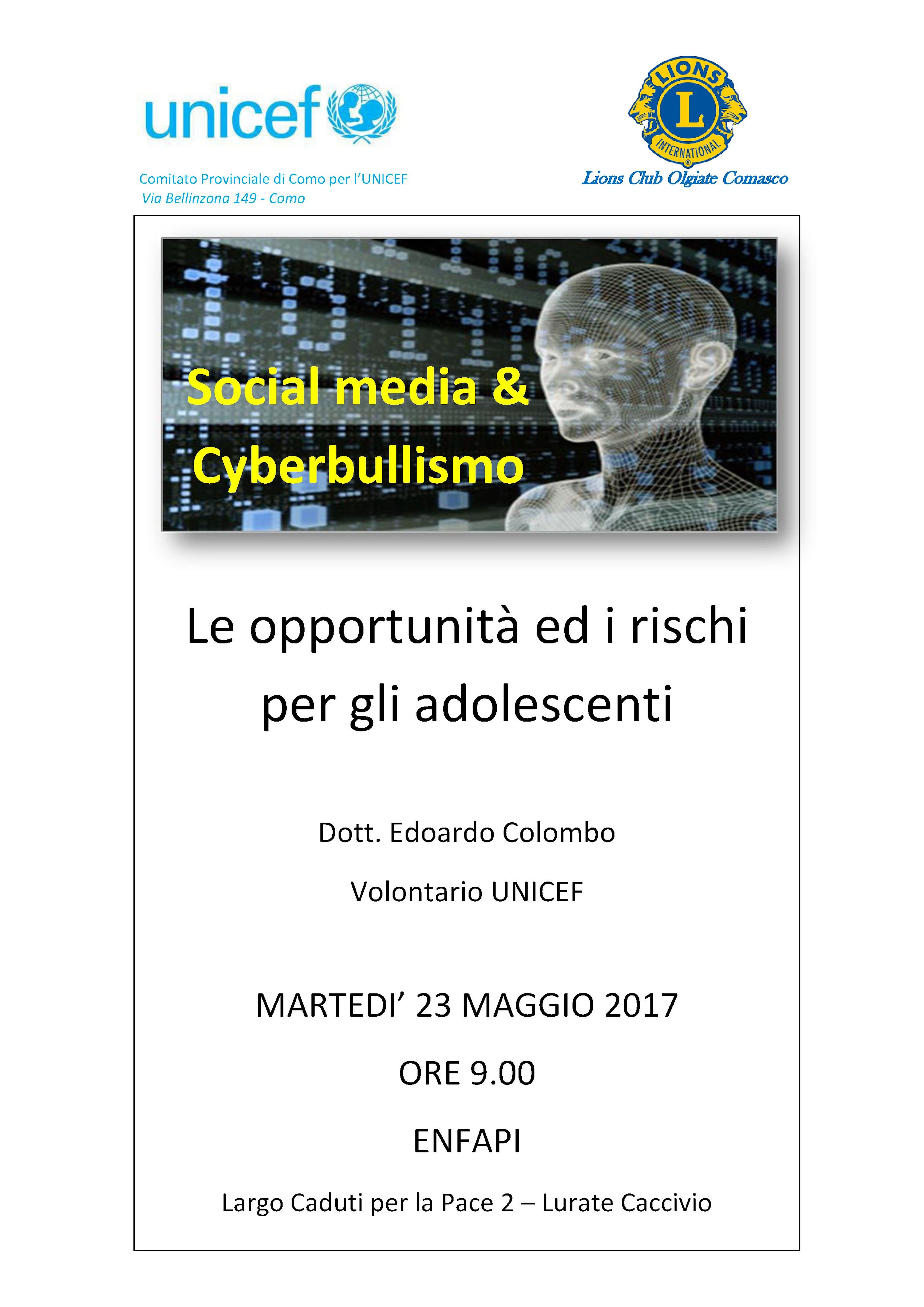 UNICEF in provincia di Como per la prevenzione del cyberbullismo