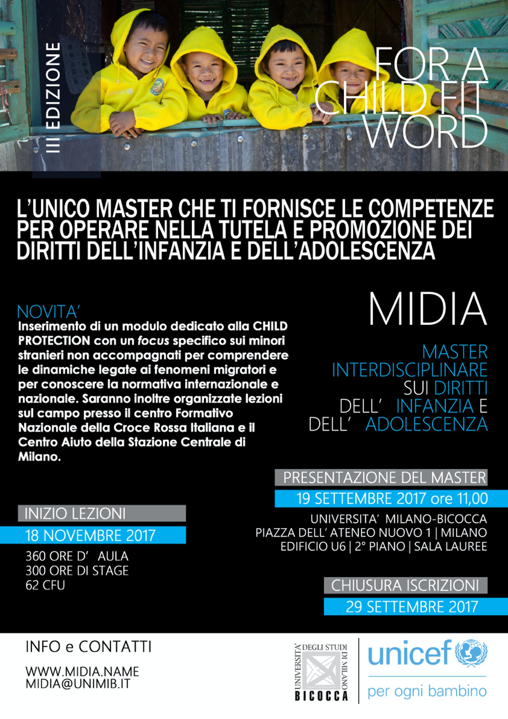 A Milano il Master UNICEF sui diritti dell'infanzia, al via la terza edizione