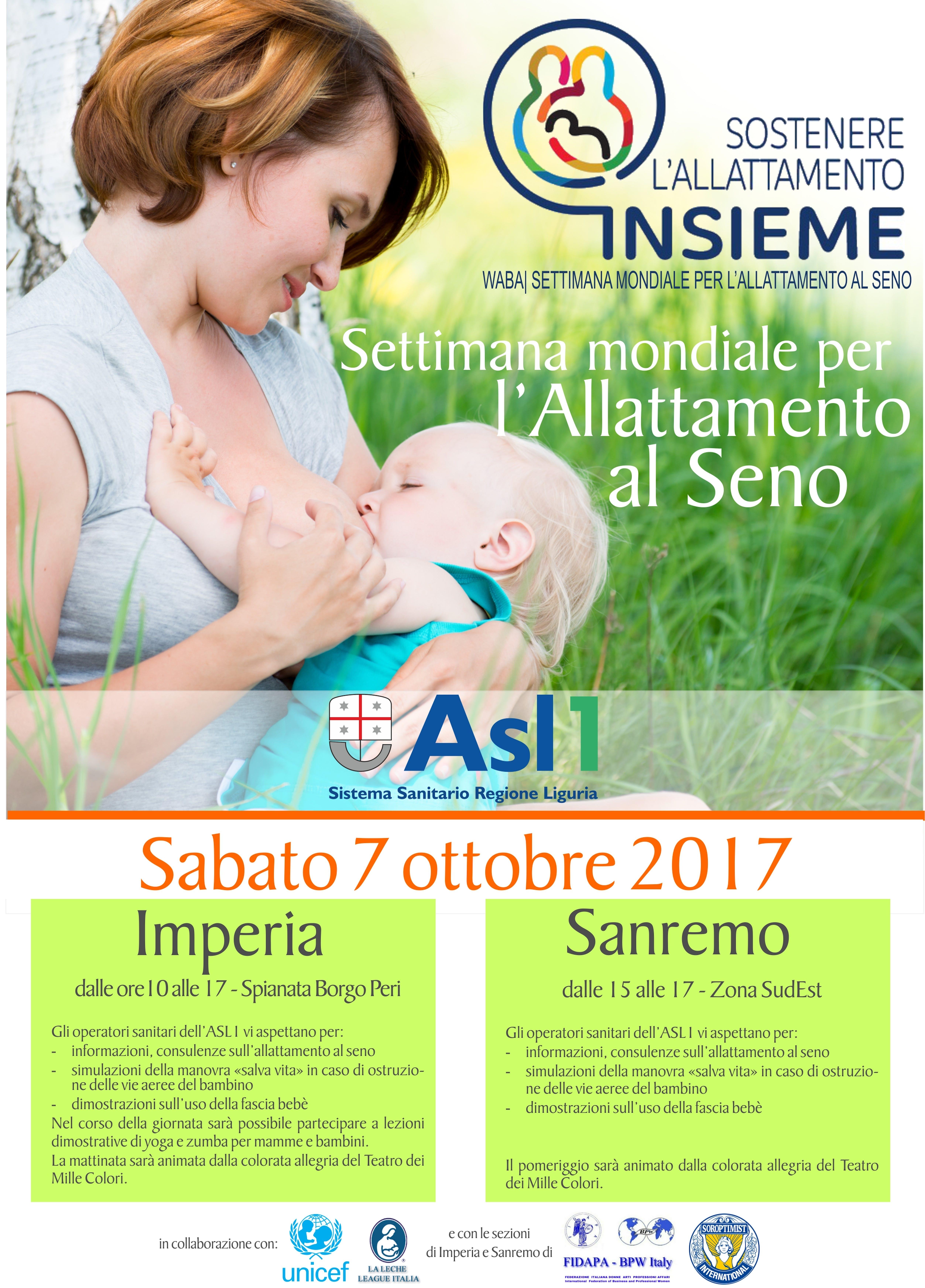 Imperia e Sanremo, la ASL in piazza per la Settimana mondiale allattamento al seno