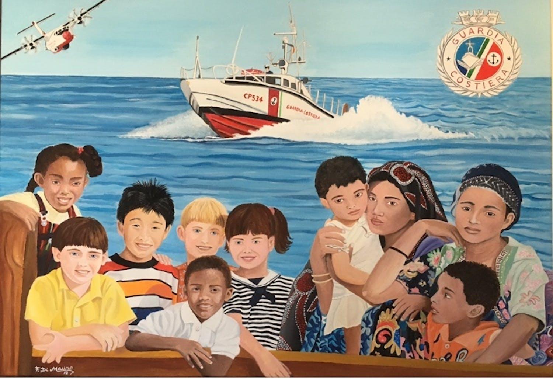 Un dipinto in dono alla Guardia Costiera di Catania per l'azione umanitaria di salvataggio nel Mediterraneo