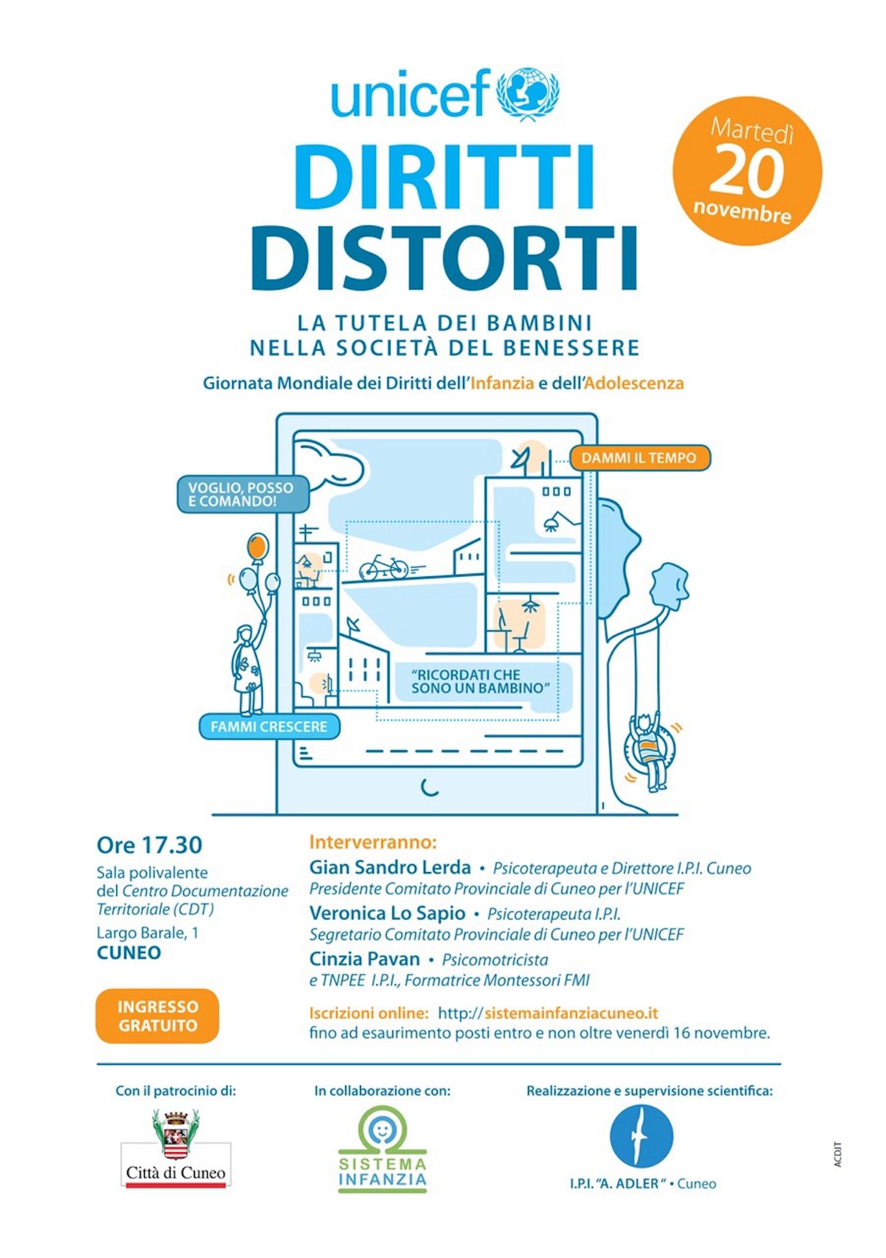 Diritti Distorti e la tutela dei bambini nella società del benessere, il 20 novembre a Cuneo per la Giornata Mondiale dell'Infanzia e dell'Adolescenza