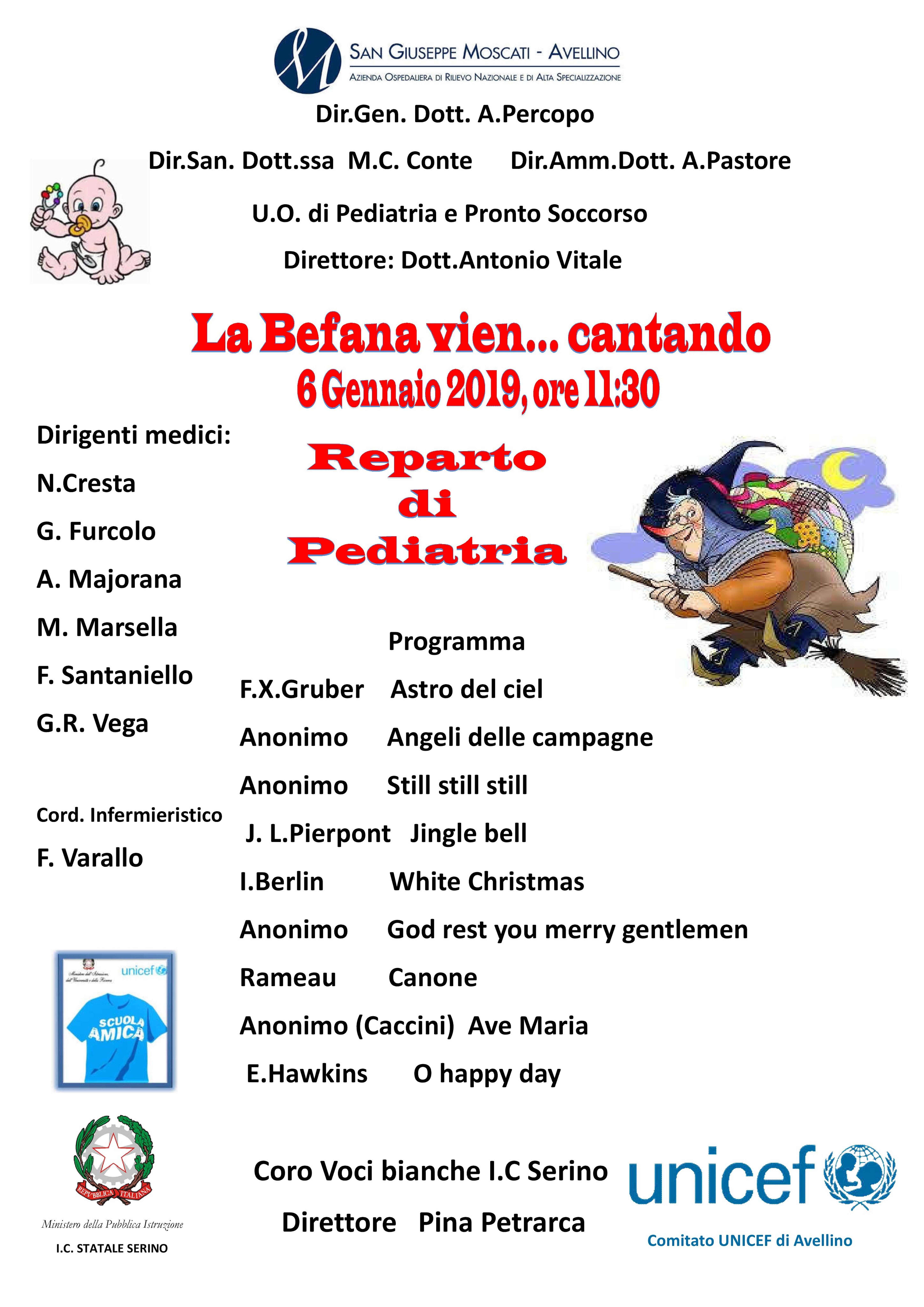 Ad Avellino con l'UNICEF dalla Tombola dei Diritti all'Epifania con i Bambini del Reparto di Pediatria dell'Ospedale Moscati