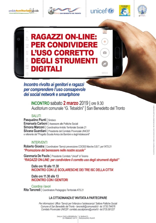 San Benedetto del Tronto, un incontro sull'uso corretto degli strumenti digitali per i giovanissimi