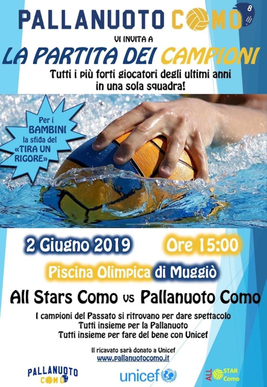 All Star Match il 2 giugno a Muggiò:  la pallanuoto di Como sostiene la Campagna UNICEF