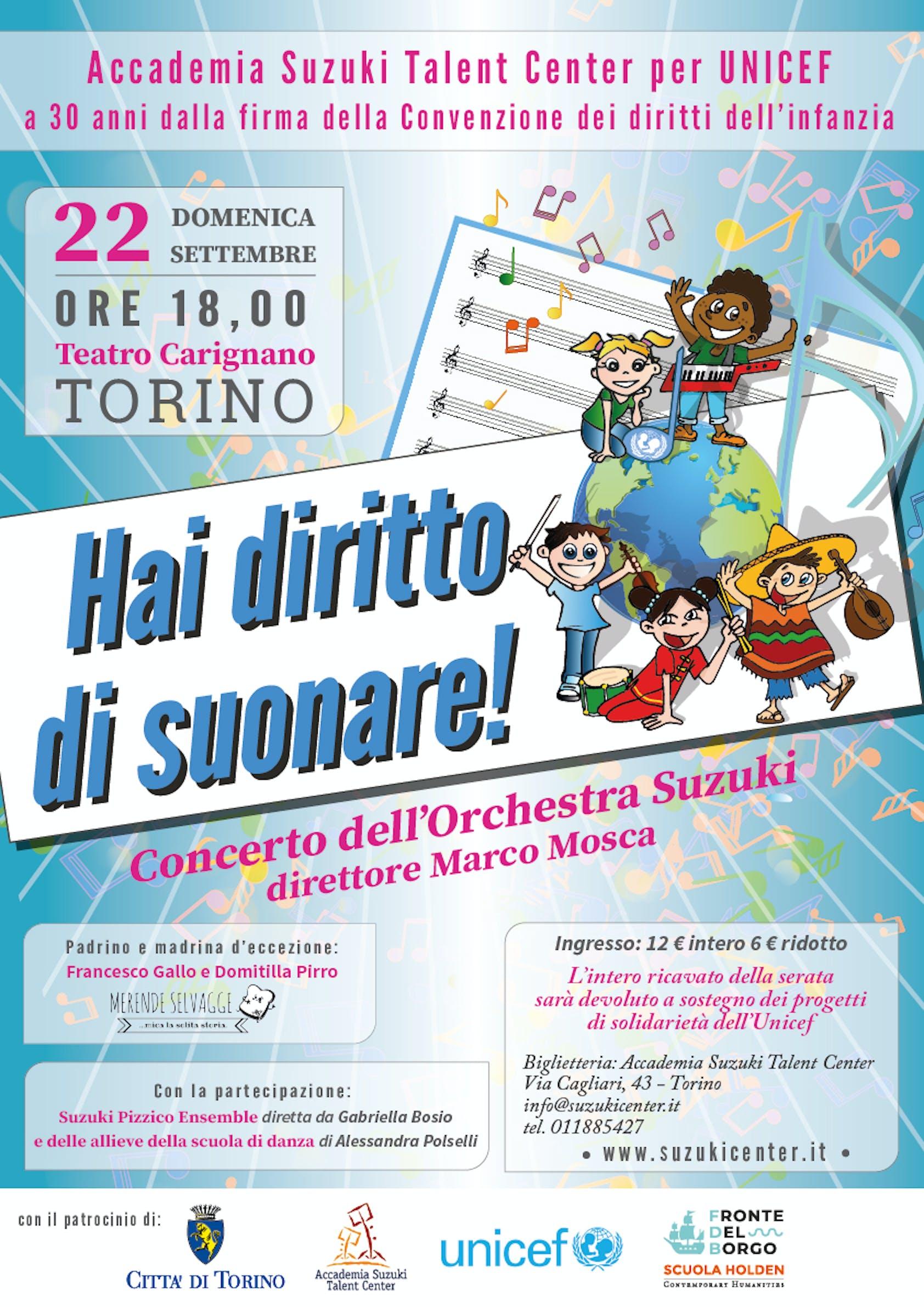 Concerto di beneficenza al teatro Carignano per la celebrazione artistica dei trenta anni della CRC ONU