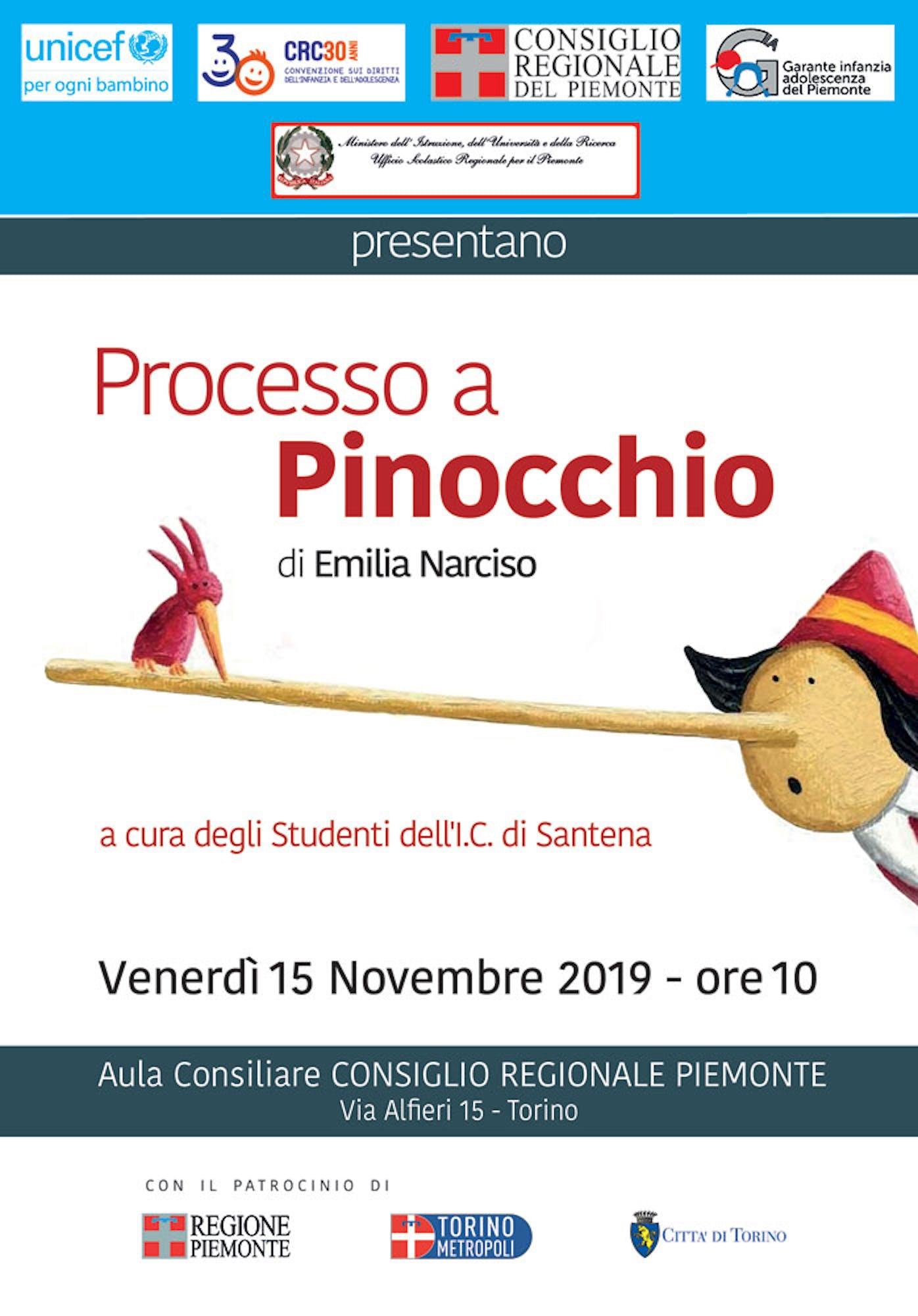 Processo a Pinocchio nell'Aula del Consiglio Regionale Piemonte a Torino per celebrare i diritti dei bambini