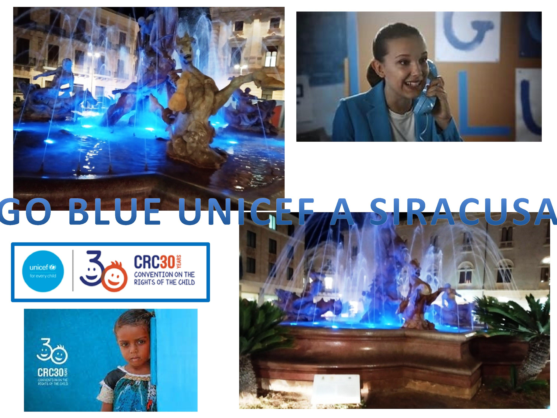 Siracusa partecipa aI Go Blue UNICEF illuminando la Fontana di Diana