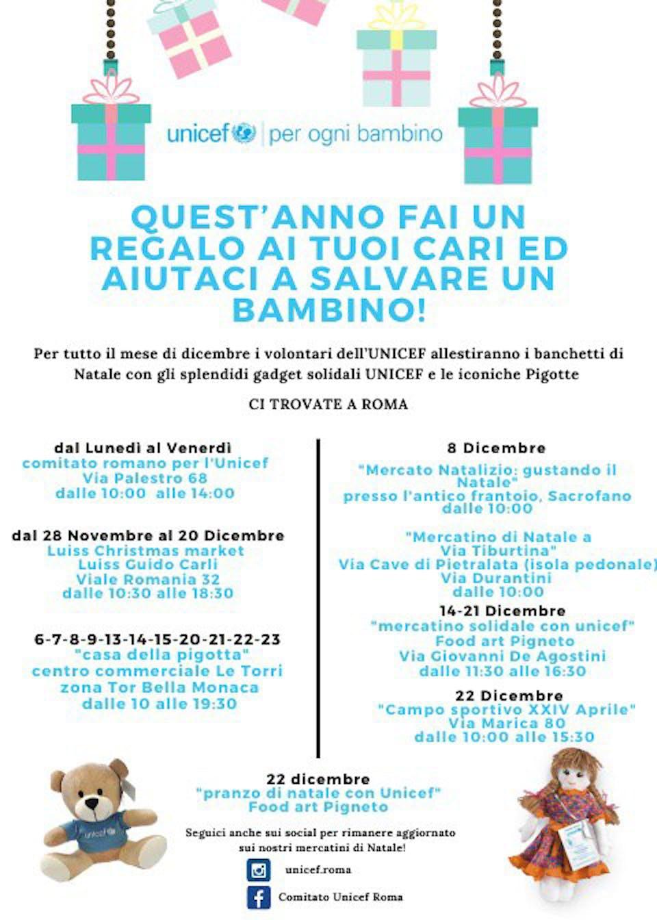 I Mercatini natalizi solidali con i volontari del comitato provinciale UNICEF di Roma
