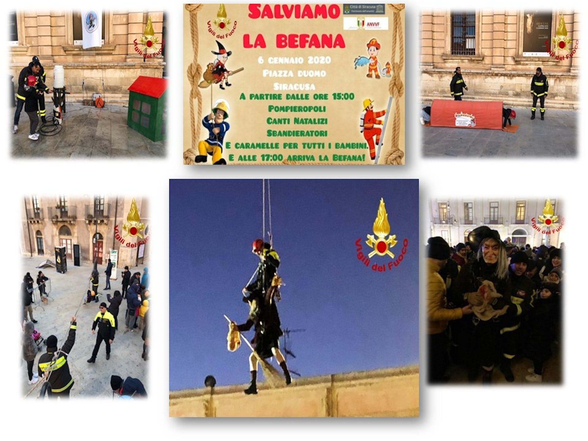 """A Siracusa """"Salviamo la Befana"""" in piazza Duomo con i Vigili del Fuoco e la loro """"Pompieropoli"""""""
