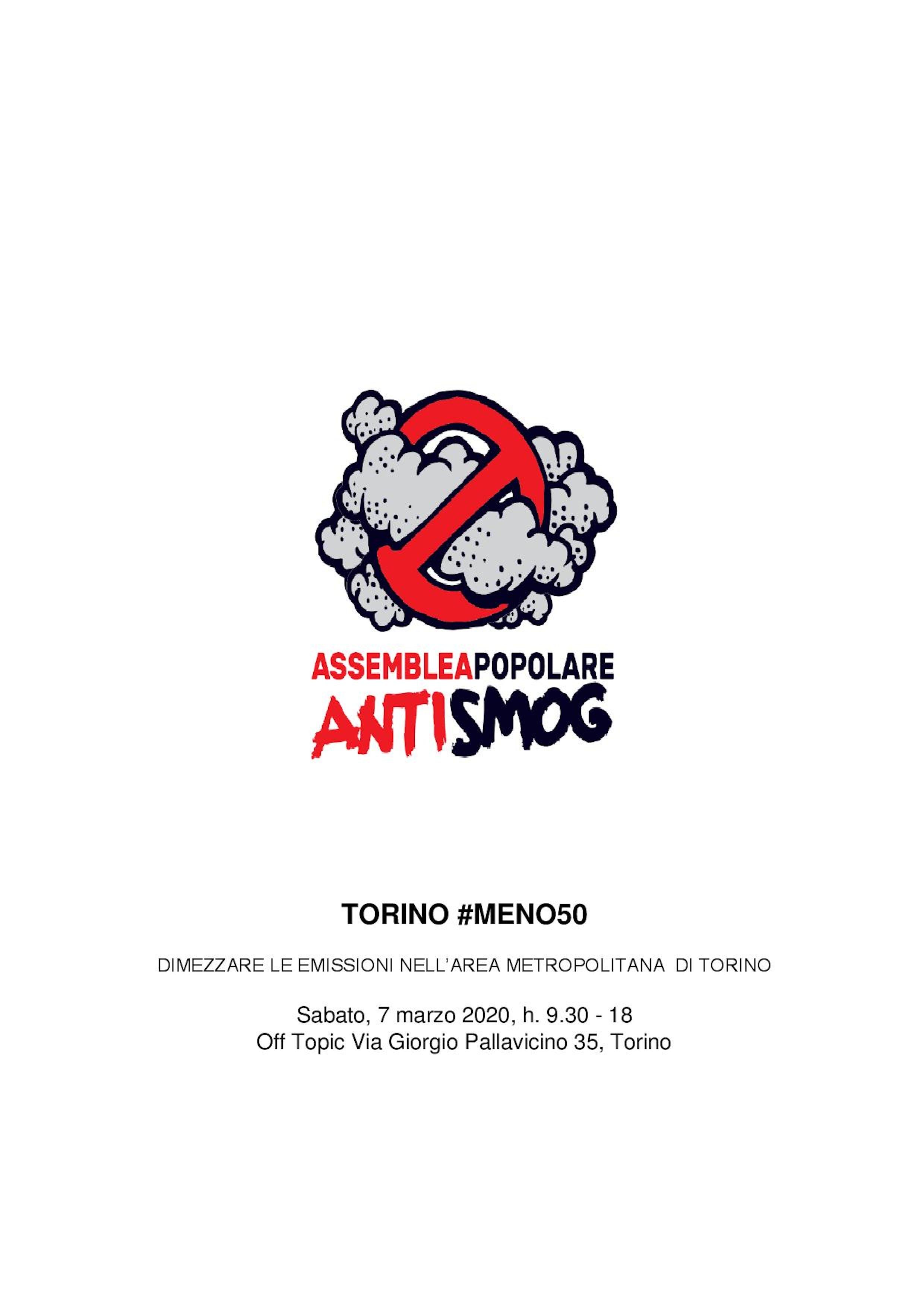 """Convocazione assemblea popolare """"Torino #MENO50"""""""