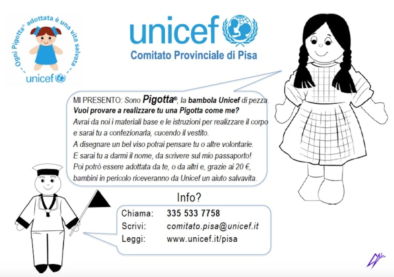 Vieni a realizzare la tua Pigotta a tema per l'UNICEF