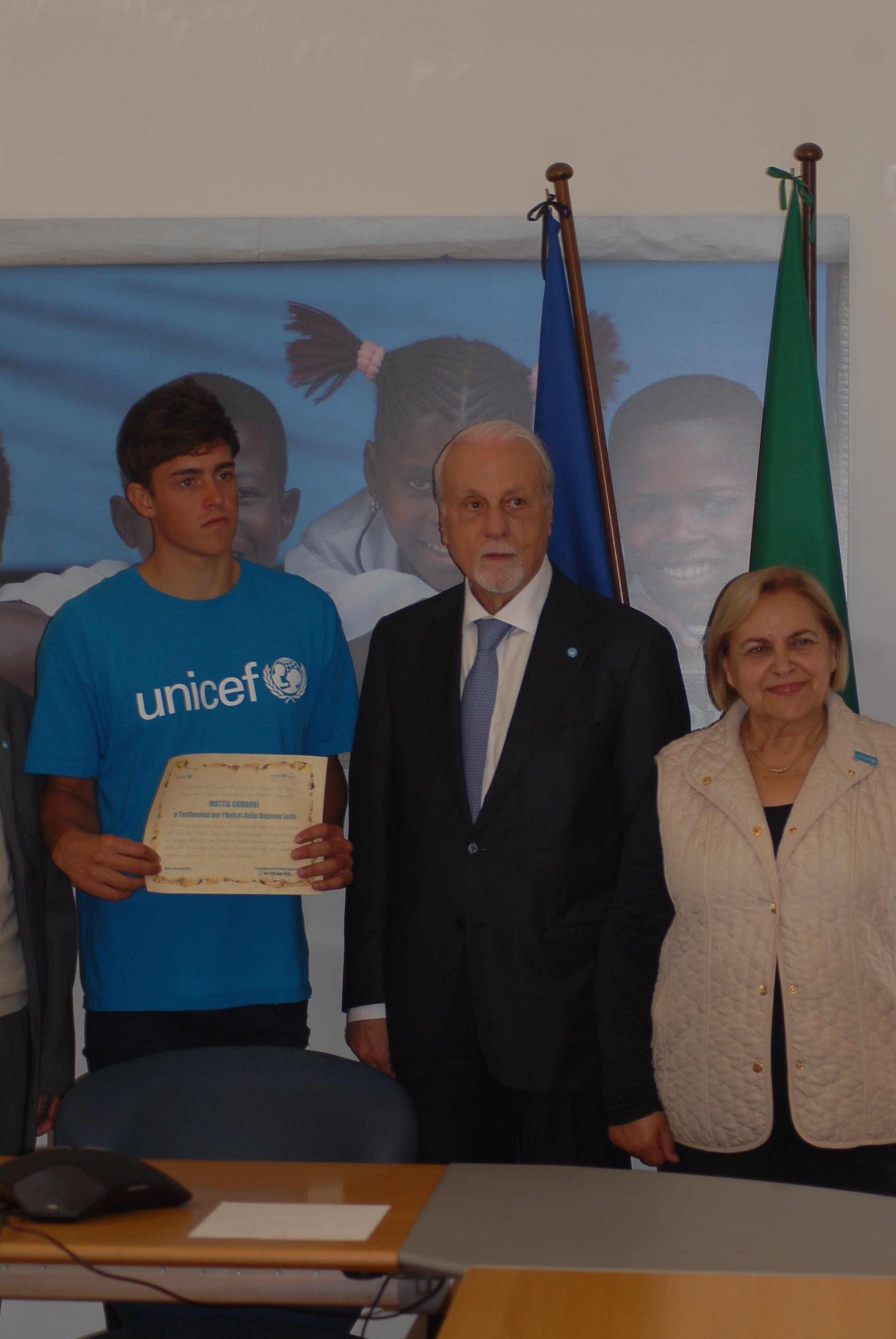 Civitavecchia: Mattia Camboni Testimonial UNICEF per il Lazio