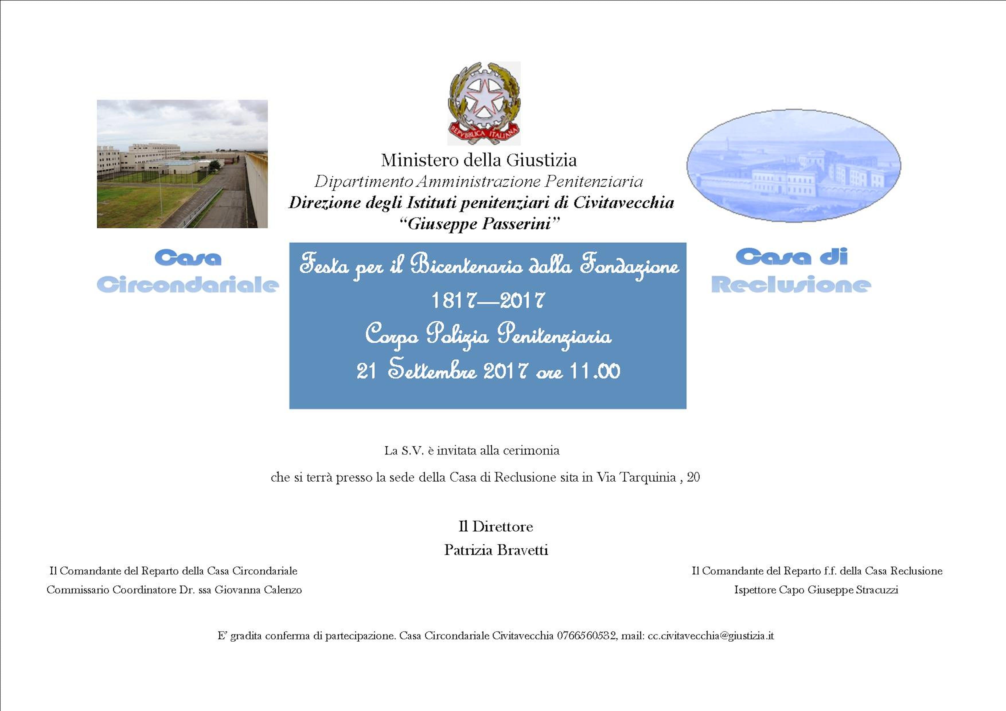 A Civitavecchia Case di Reclusione in festa per il Bicentenario 1817-2017