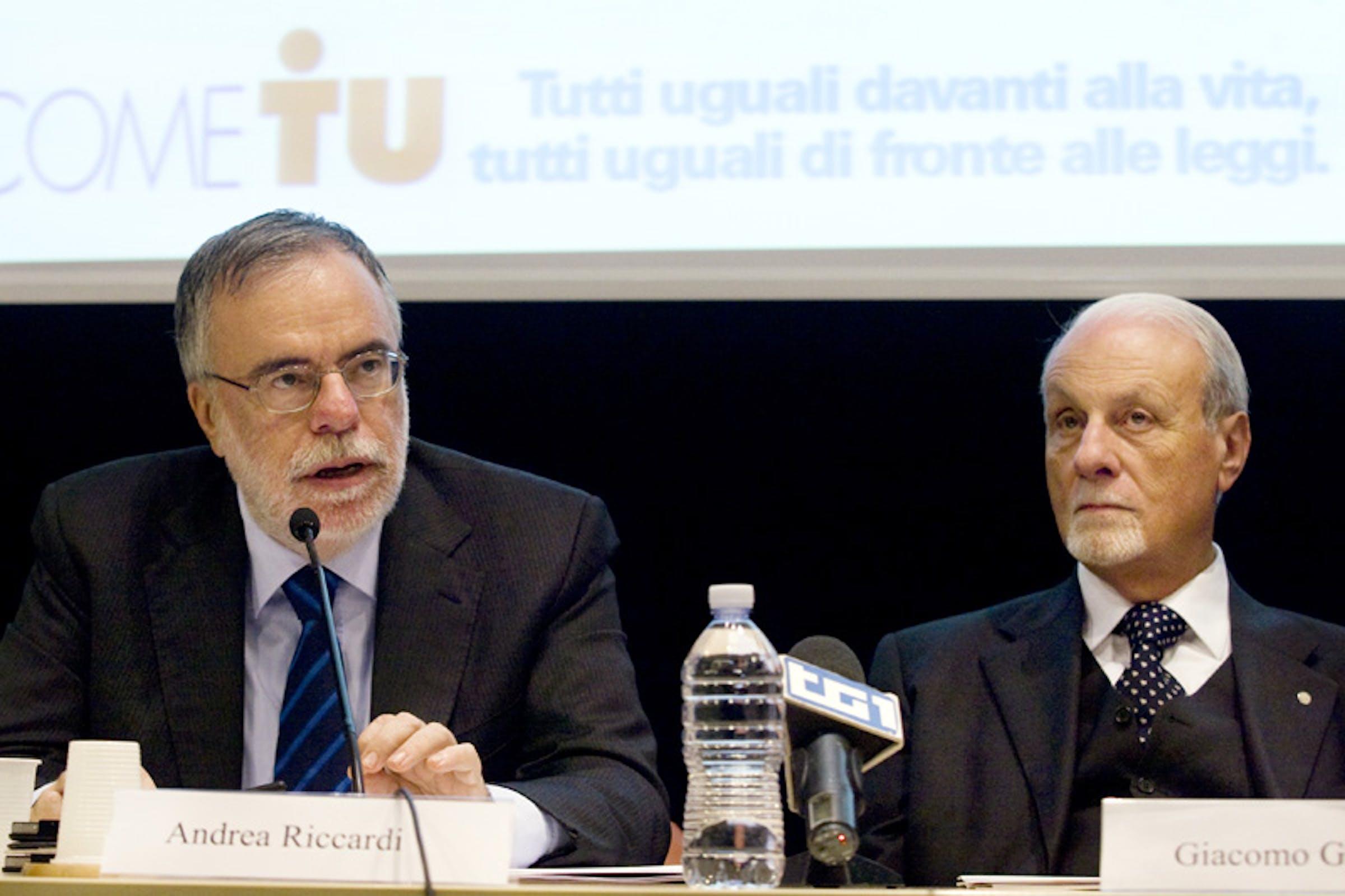 Il ministro della Cooperazione Andrea Riccardi e il Presidente dell'UNICEF Italia Giacomo Guerrera - ©UNICEF Italia/2012/Ada Lombardi