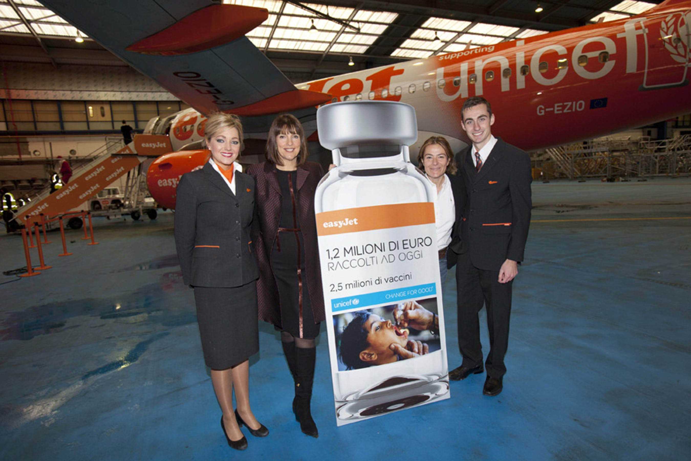 Aeromobile easyJet realizzato per celebrare i risultati della campagna 'Change for Good' per l'UNICEF
