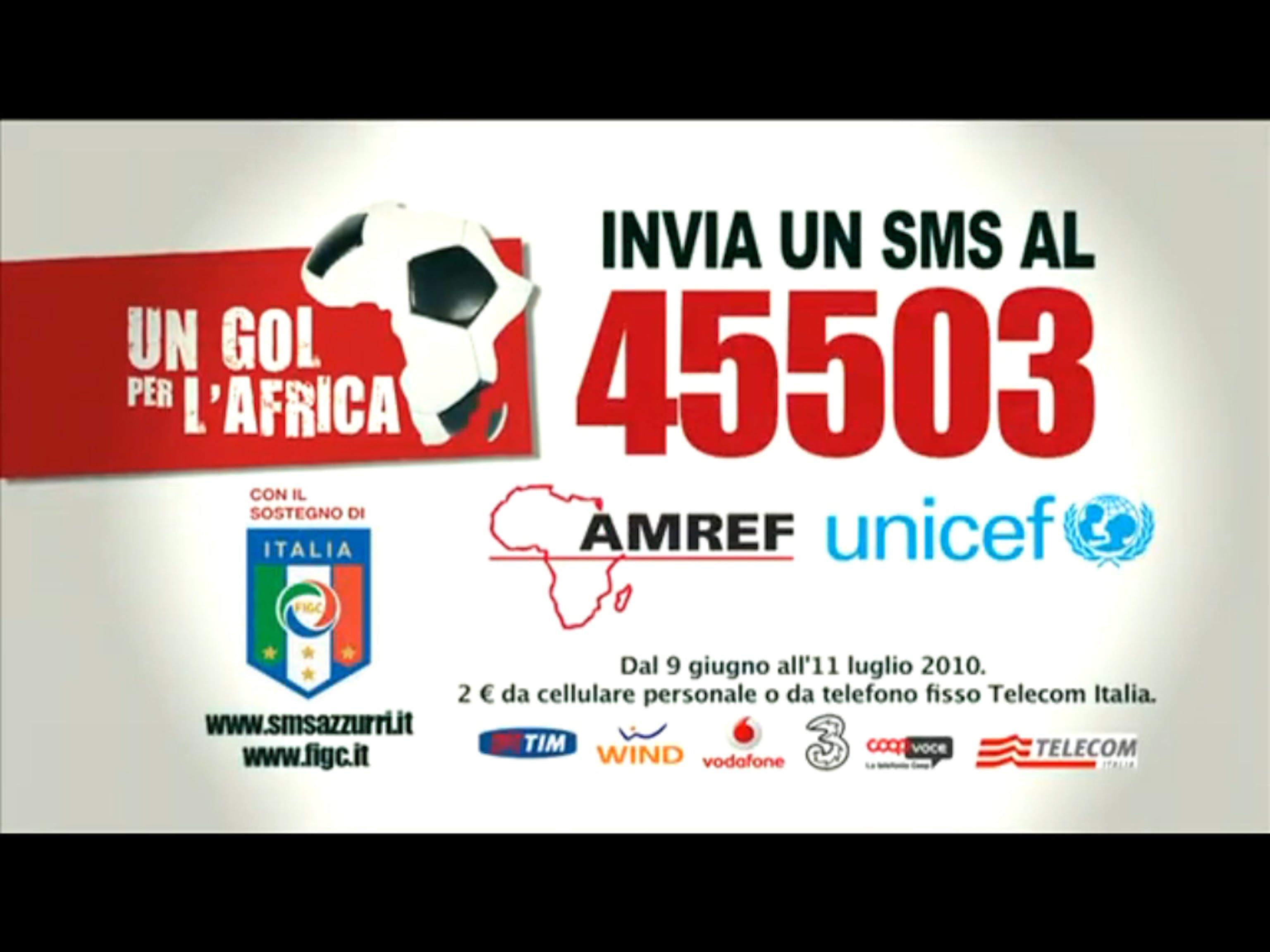 Un gol per l'Africa con SMS solidale 45503
