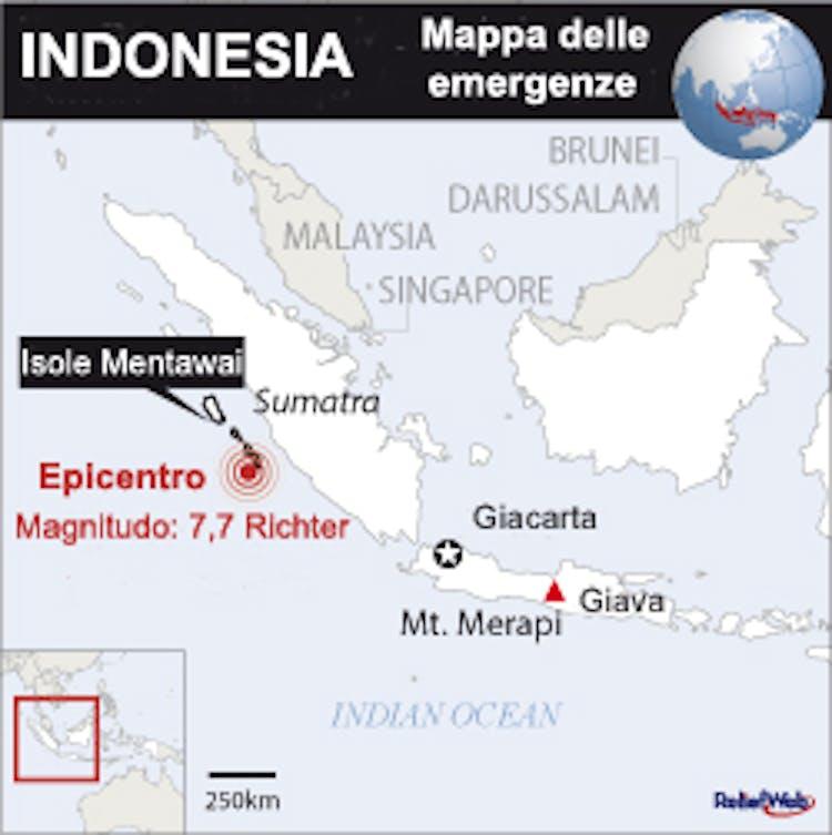 Mappa delle emergenze naturali in Indonesia, ottobre 2010 -©UN/OCHA