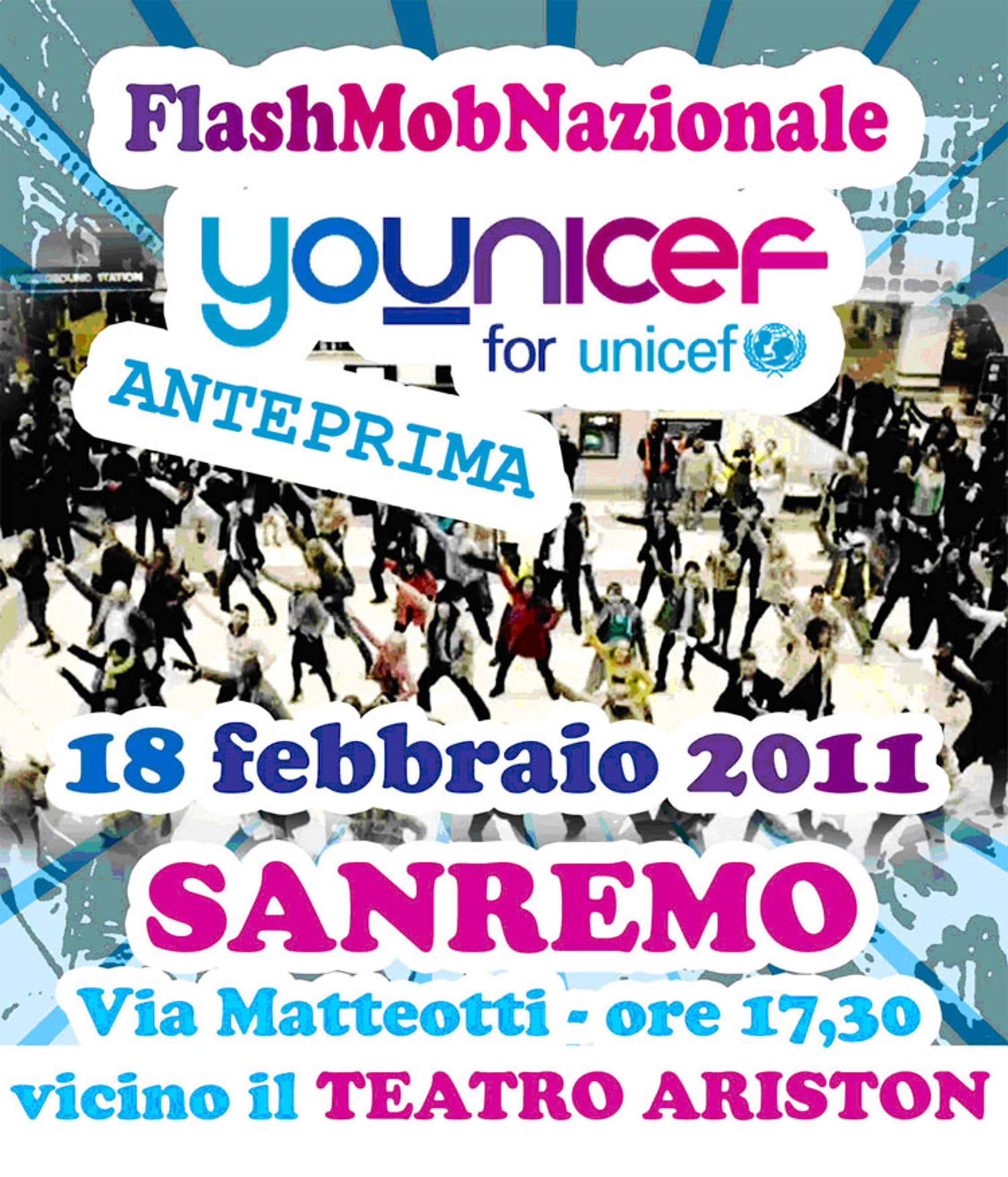 La locandina del Flash mob Younicef a Sanremo 2011