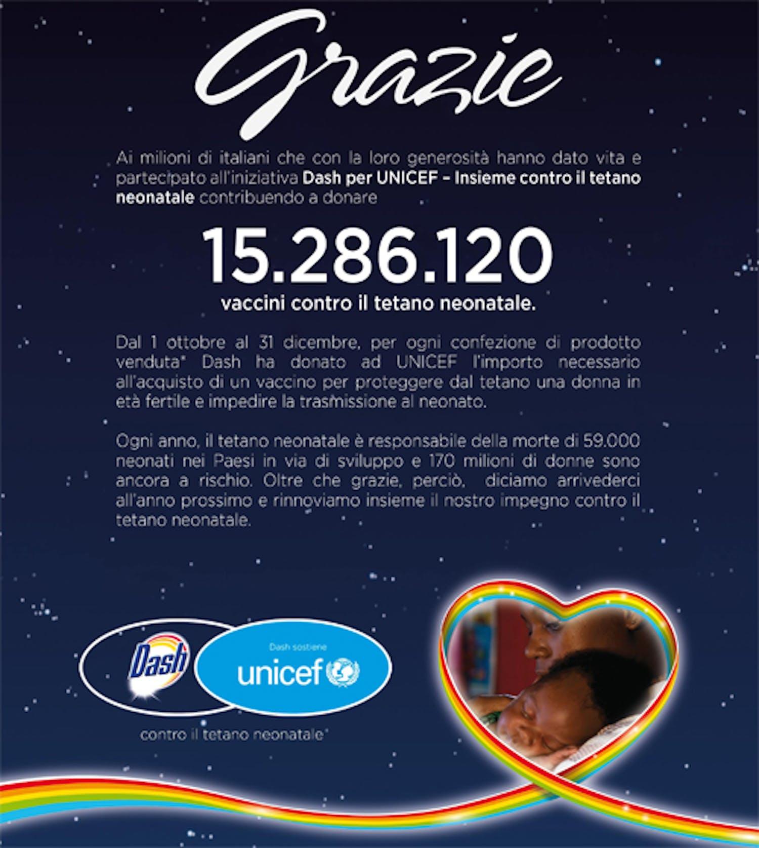 Dash e UNICEF insieme contro il tetano neonatale, oltre 15 milioni di vaccini raccolti