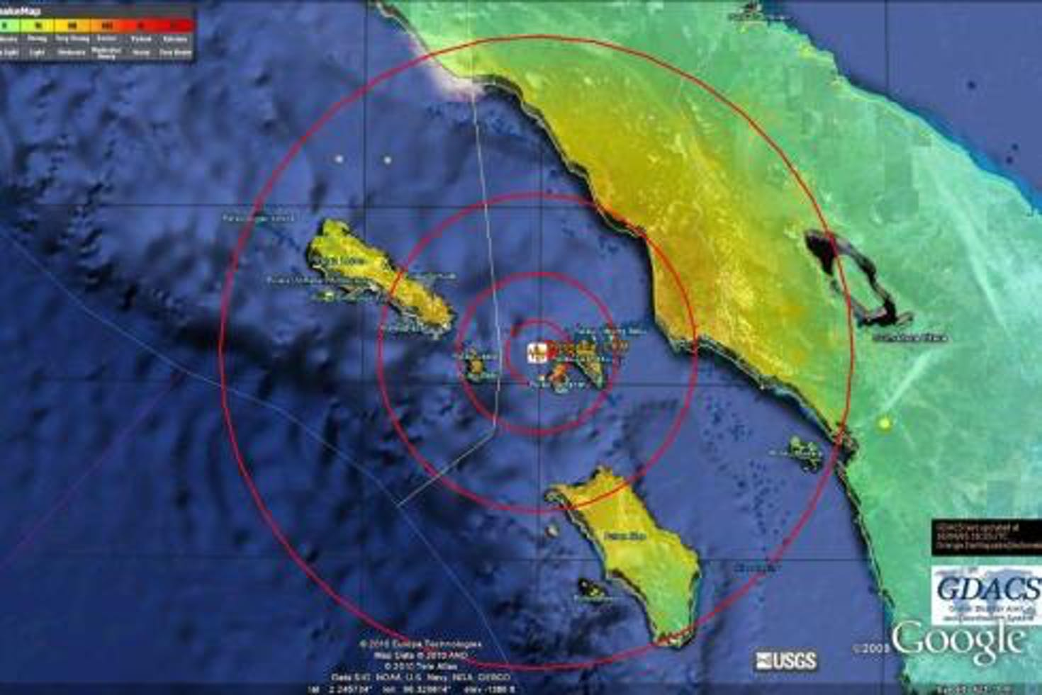 Mappa del terremoto al largo di Sumatra (Indonesia) - ©www.directrelief.org