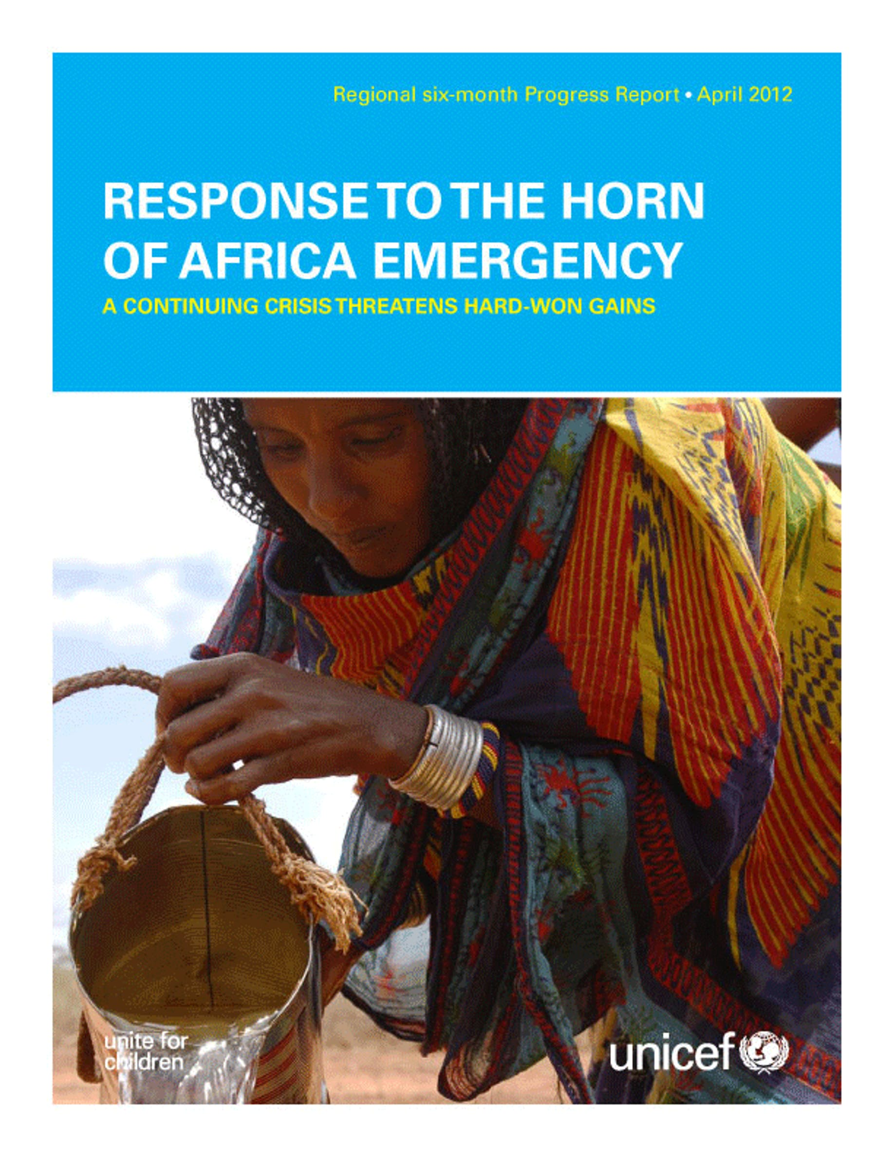Copertina del rapporto UNICEF ''Response to the Horn of Africa Emergency''  (aprile 2012)