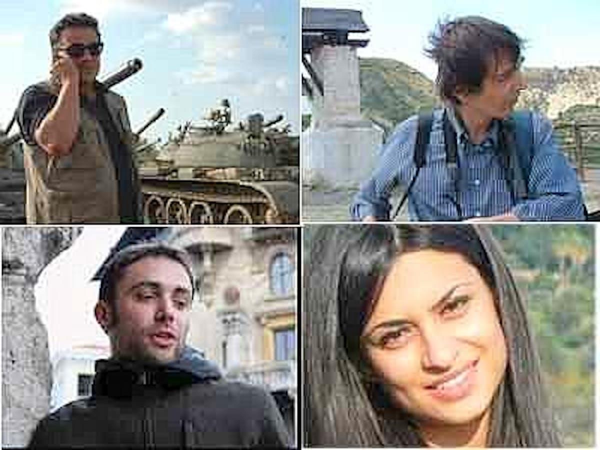 I giornalisti italiani rilasciati in Siria. Da sin.: Amedeo Ricucci, Elio Colavolpe, Andrea Vignali e Susan Dabbous