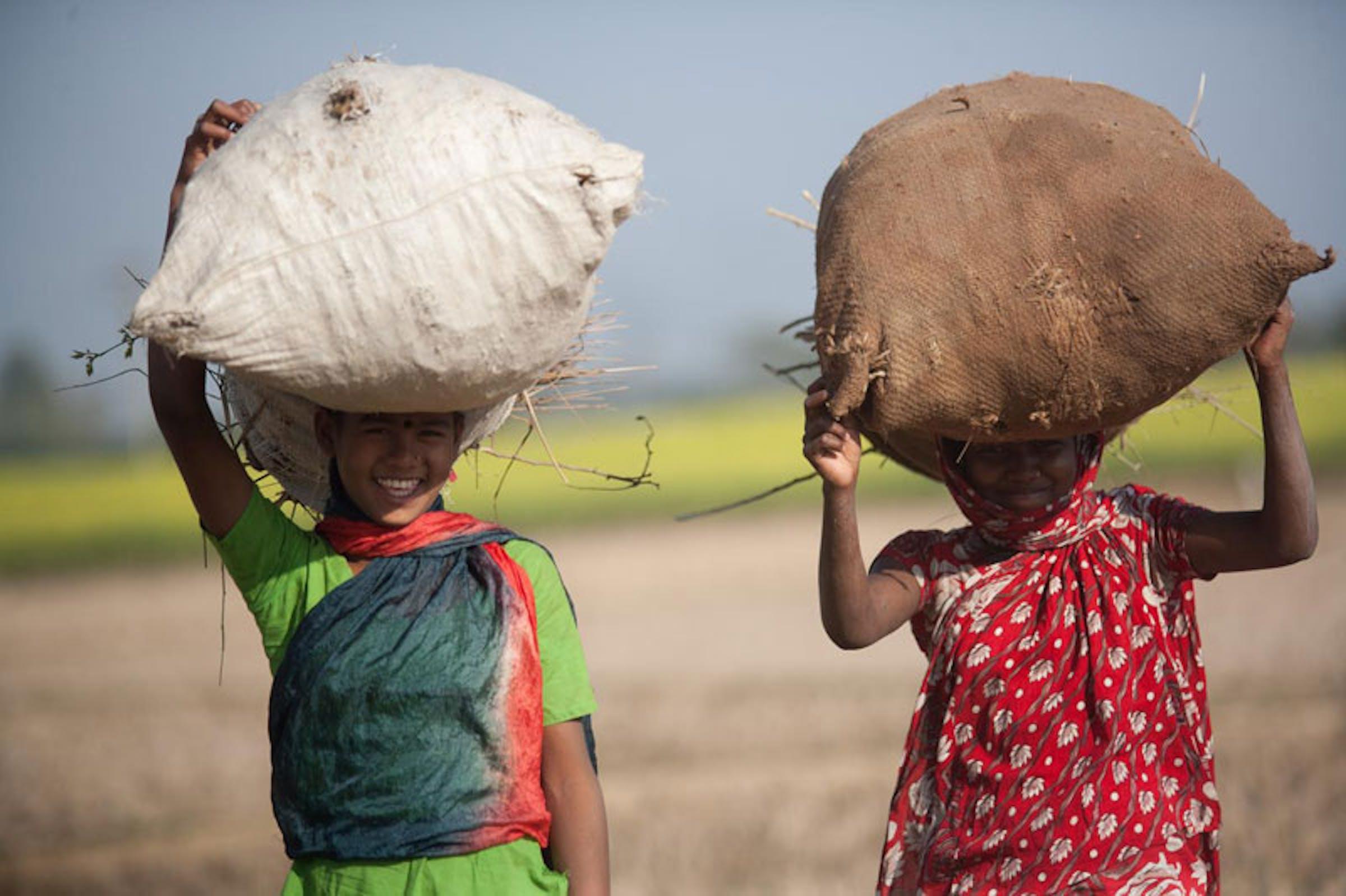 Bambini al lavoro nei campi di Rahangur (Bangladesh). L'agricoltura è il settore preponderante per i 115 milioni di minori impiegati nelle forme peggiori di sfruttamento del lavoro minorile - ©UNICEF Bangladesh/2013-0355/Habibul Haque