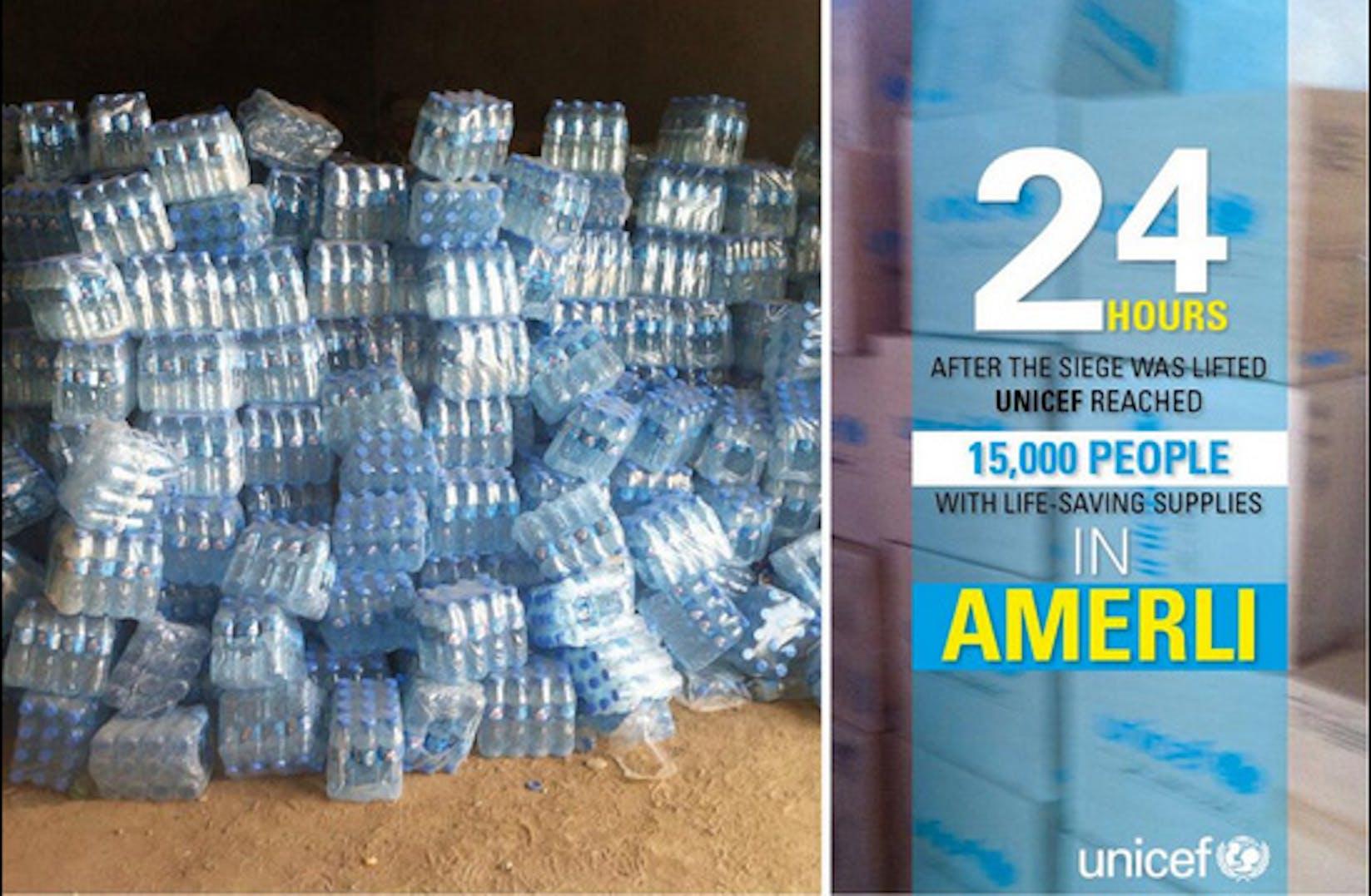 8.500 bottiglie, parte degli aiuti umanitari distribuiti dall'UNICEF ad Amerli subito dopo la fine dell'assedio - ©UNICEF Iraq/2014