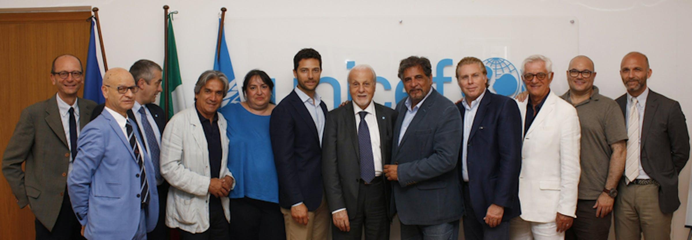 La Nazionale Calciatori Attori Italiani alla sede dell'UNICEF Italia - ©UNICEF Italia/2015/Alessandro Longobardi