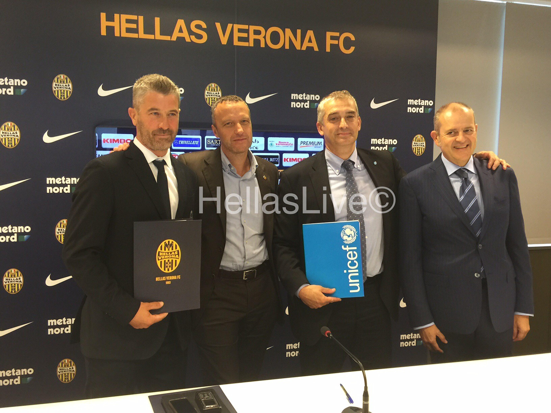 Il DG dell'Hellas Verona Giovanni Gardini, il sindaco di Verona Flavio Tosi e il DG dell'UNICEF Italia Paolo Rozera - ©Hellas Verona/2015