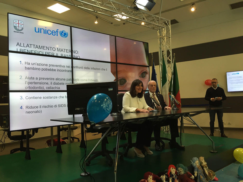 L'assessore alla Salute della Regione Liguria Sonia Viale e il presidente dell'UNICEF Italia Giacomo Guerrera - ©UNICEF Italia/2016/Elise Chapin