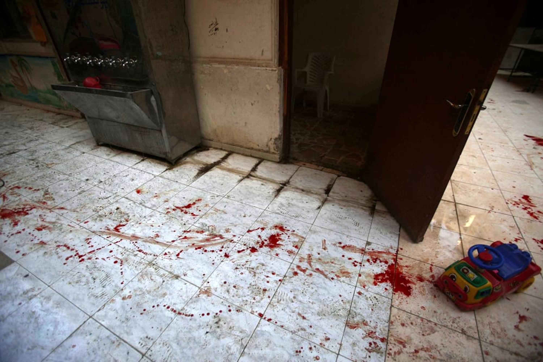 Un'immagine dell'asilo di Harasta colpito ieri - ©Ansa