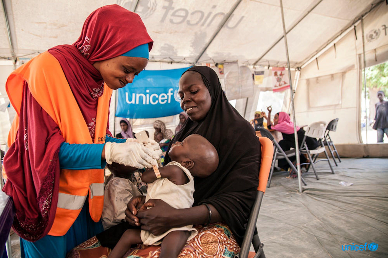 Umara (7 mesi) viene visitato da una nutrizionista dell'UNICEF a Maiduguri (Nigeria). Dall'inizio dell'anno sono 117.000 i bambini nel Nord-Est del paese che sono stati curati da gravi forme di malnutrizione - © UNICEF/UN041140/Vittozzi