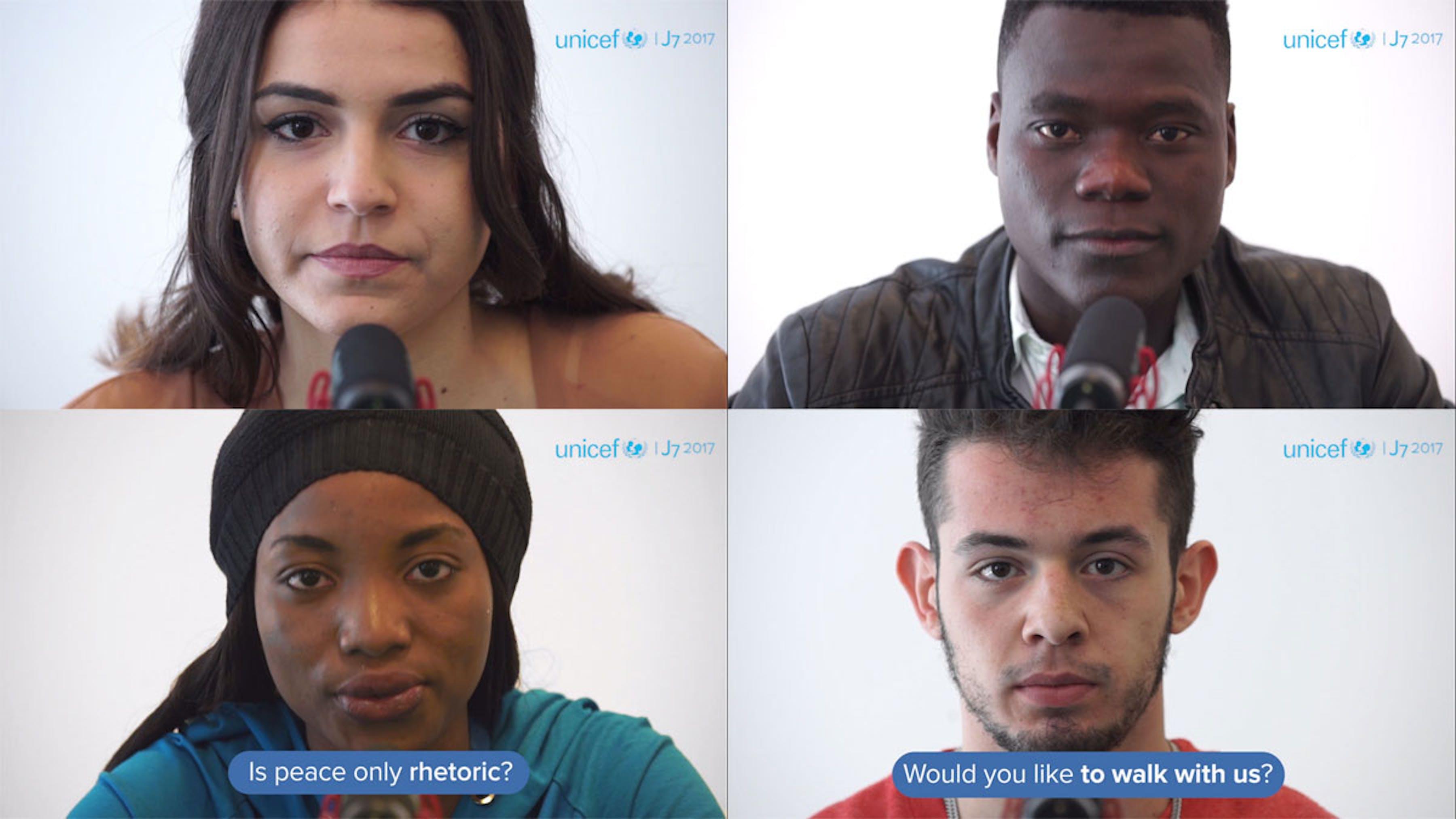 Alcuni dei giovani protagonisti del video-messaggio del